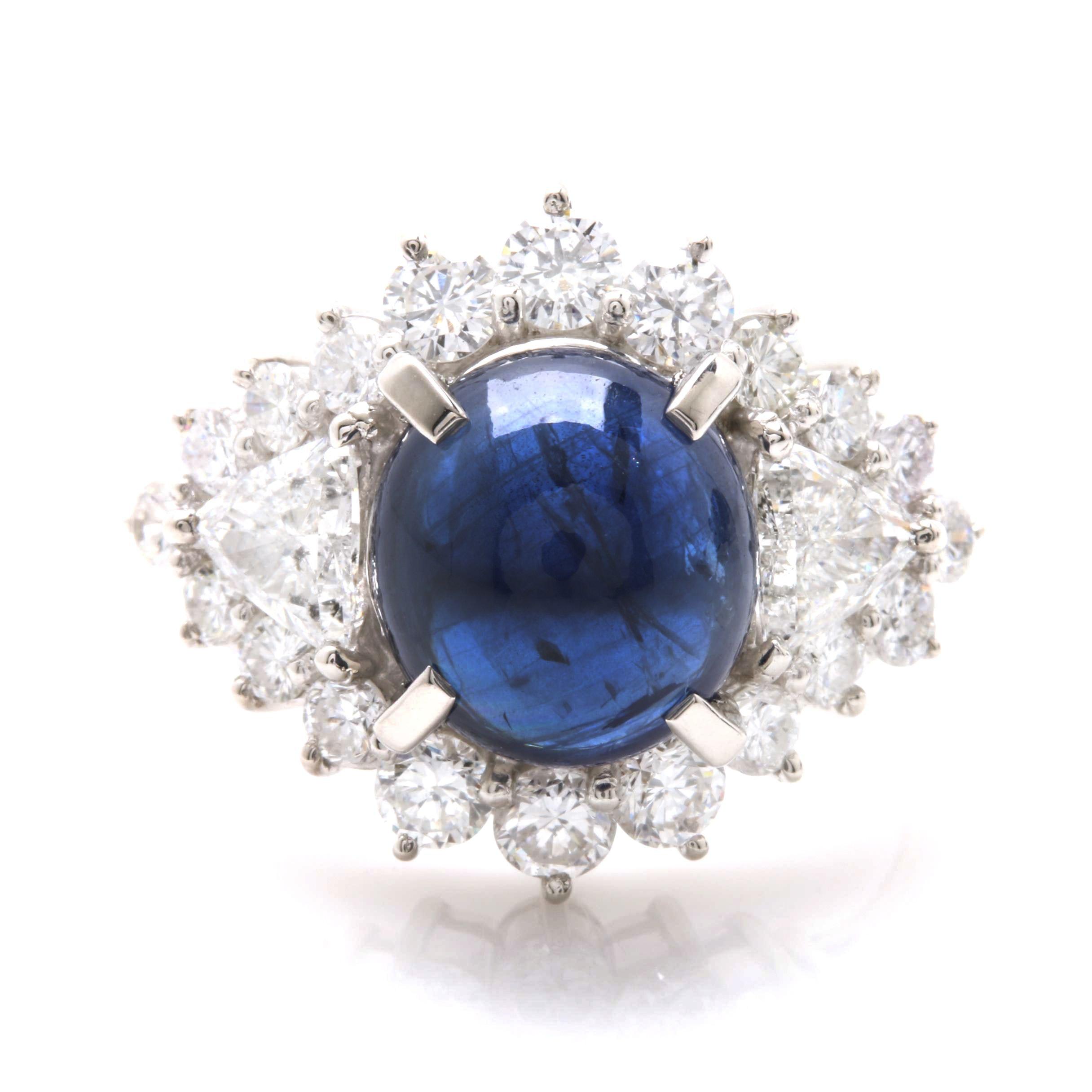 Platinum 3.69 CT Unheated Blue Sapphire and 1.23 CTW Diamond Ring