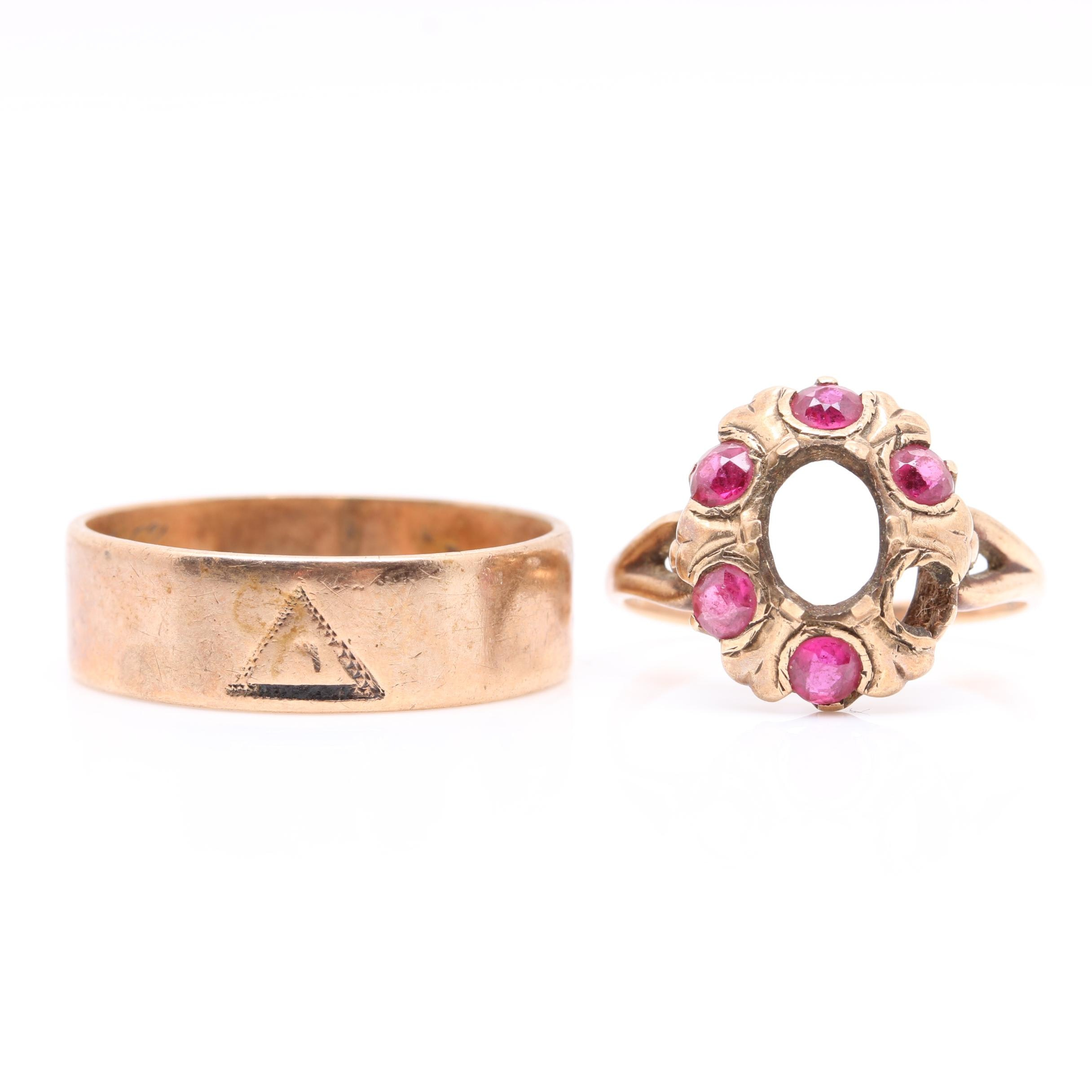 10K Yellow Gold Band and Synthetic Ruby Semi Mount Ring