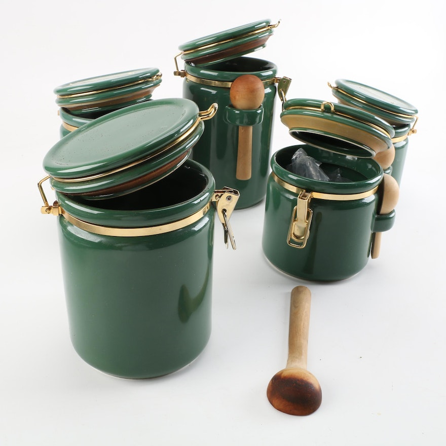 Green Canisters Kitchen Home