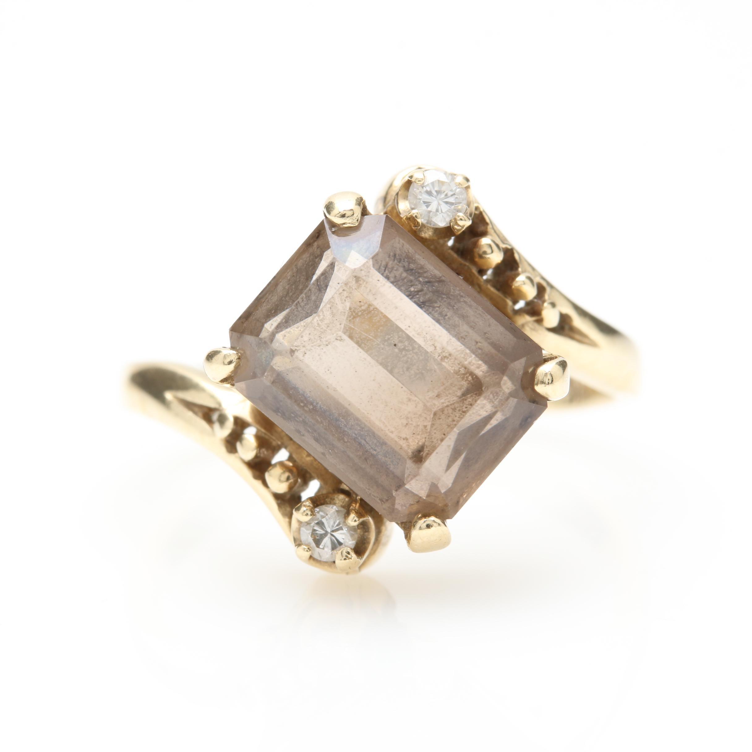 Vintage 14K Yellow Gold Smoky Quartz and Diamond Ring