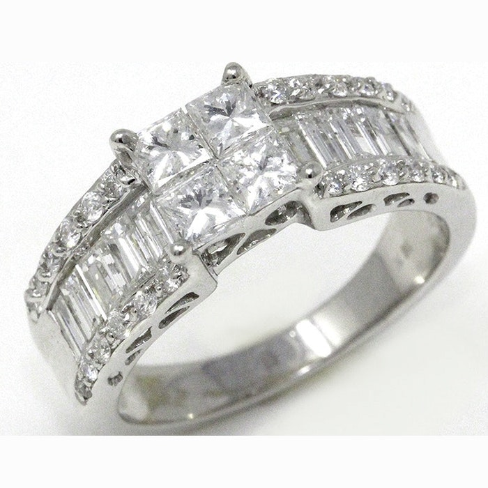 18K White Gold and 1.74 CTW Diamond Cathedral Engagement Ring