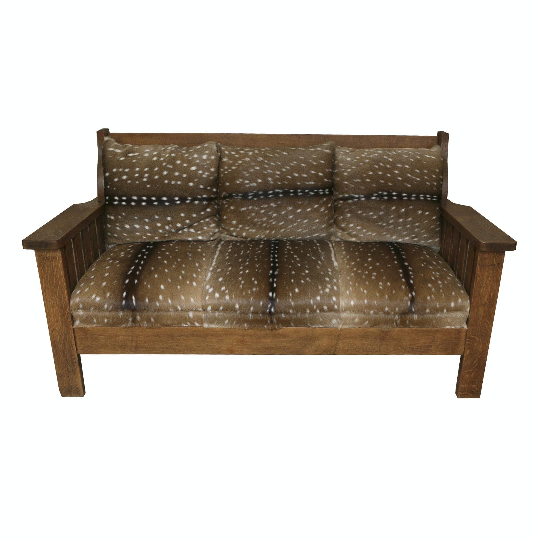 Axis Deer Hide Mission Oak Sofa ...