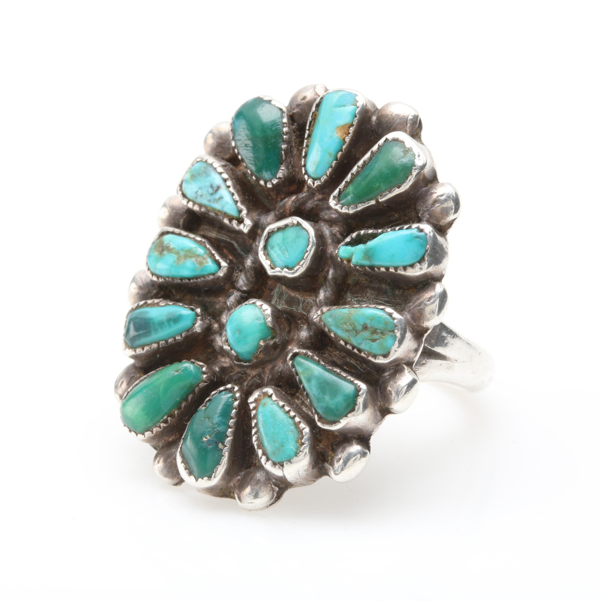 Old Pawn Style Sterling Silver Turquoise Ring