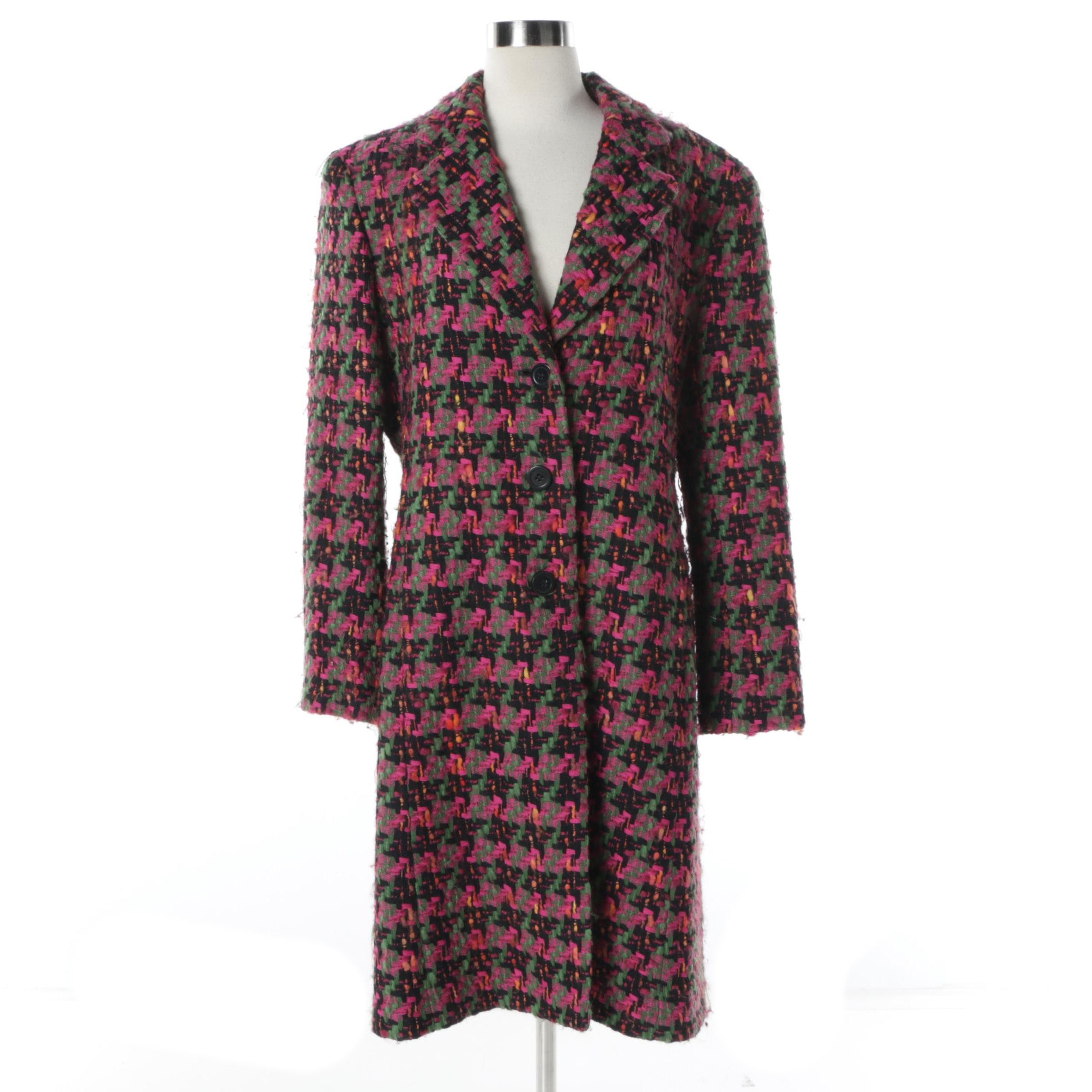 Women's Jones New York Multicolored Wool Blend Knit Button-Front Car Coat