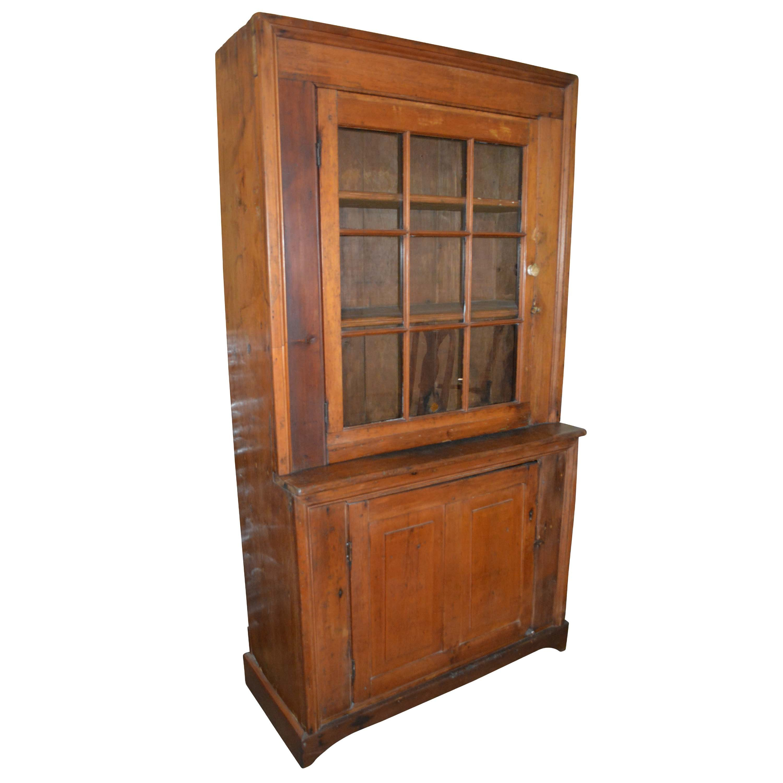 Antique Colonial Style Cherry Step Back Cupboard