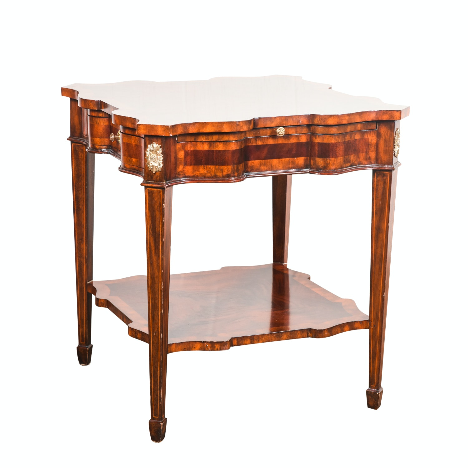 Matched and Inlaid Mahogany Side Table by Maitland-Smith