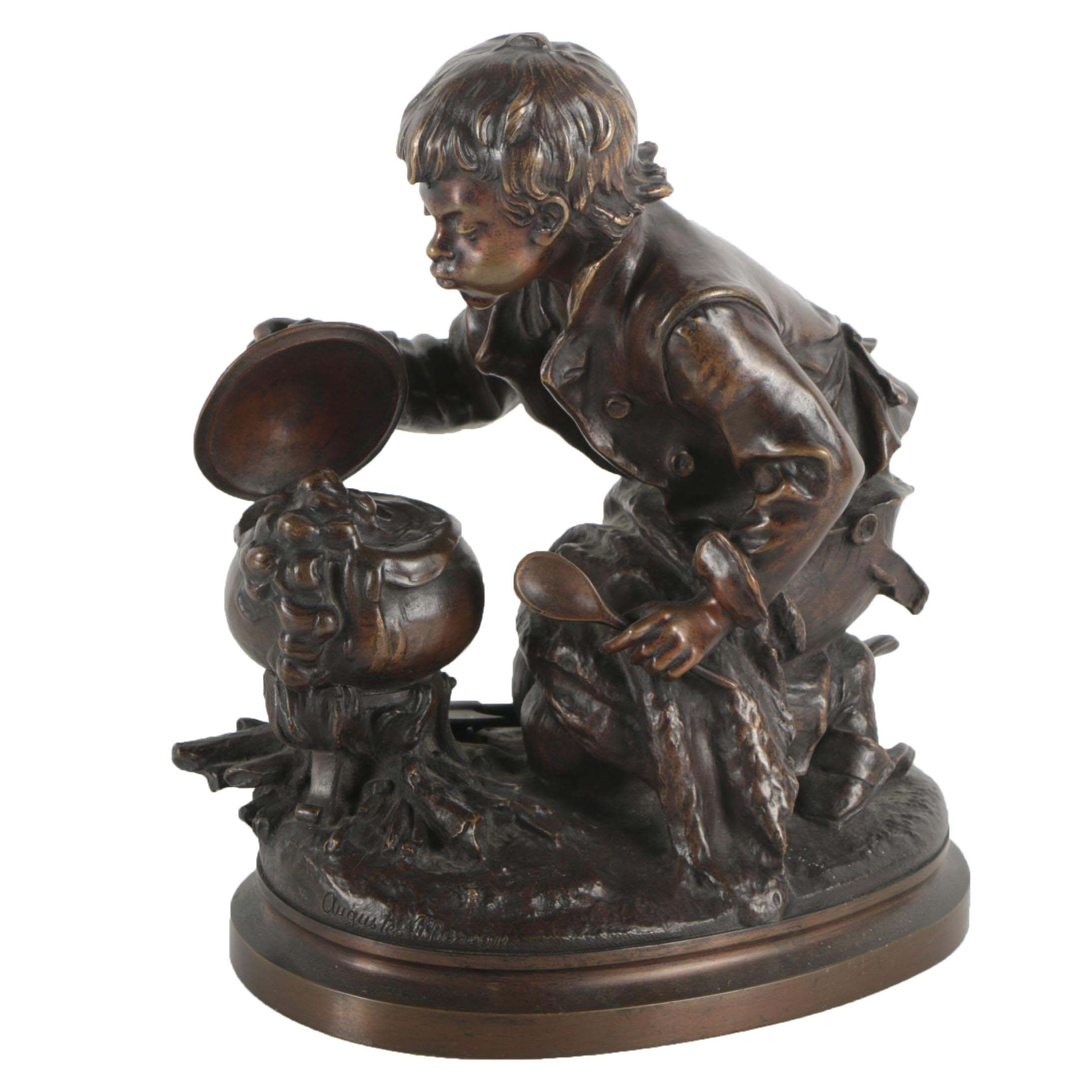 Bronze Sculpture of a Boy After Auguste Moreau
