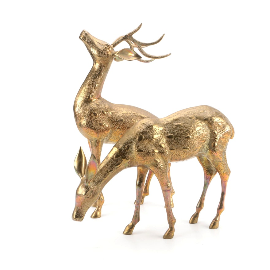 Handcrafted Brass Deer Statues By Decorative Crafts Inc