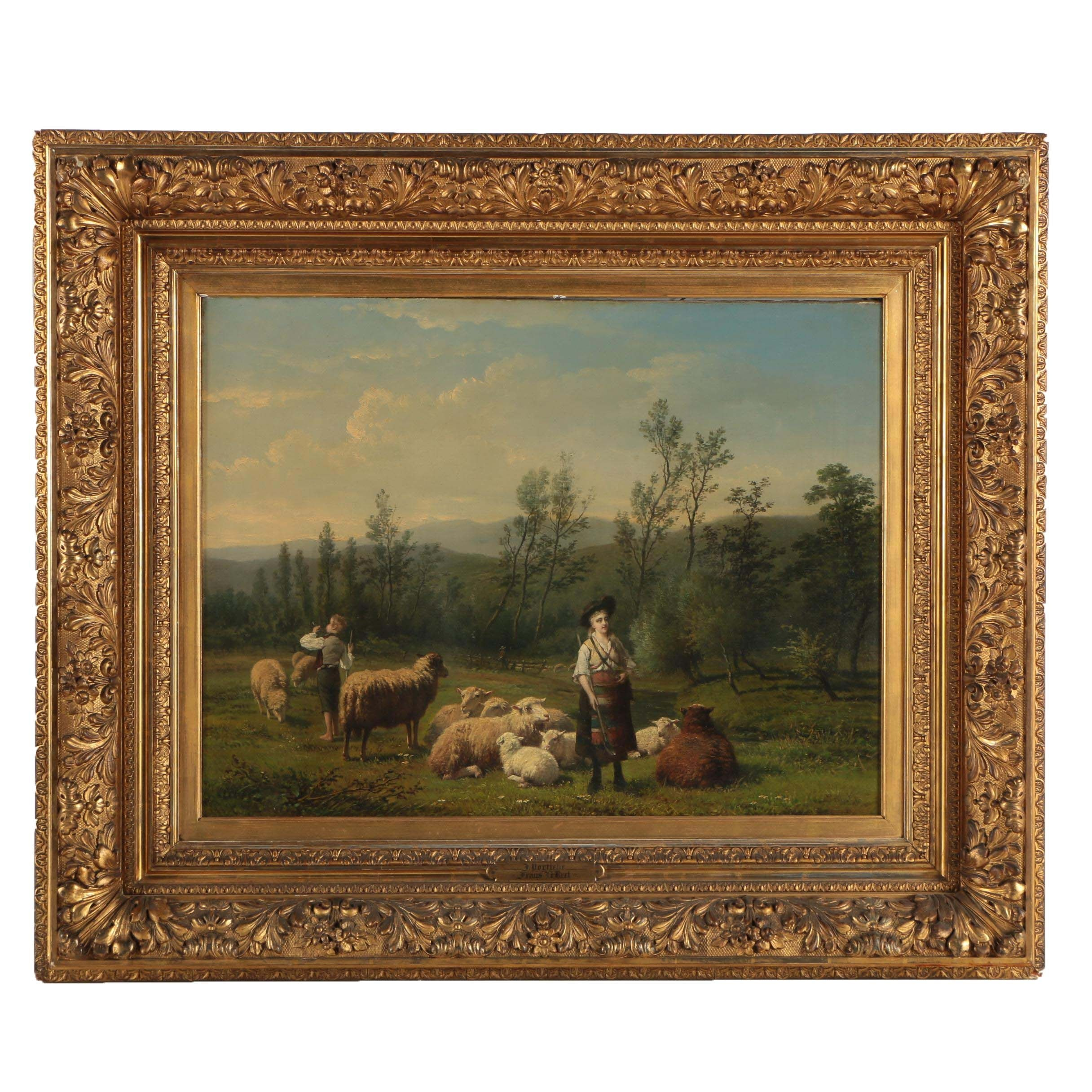 Frans LeBret and Jan Portielje Oil Painting of Pastoral Scene