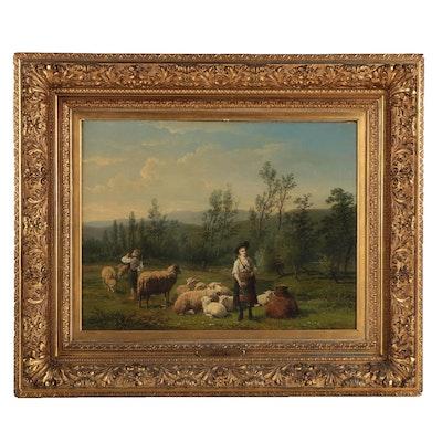Frans LeBret and Jan Portielje Oil Painting of Pastoral Scene