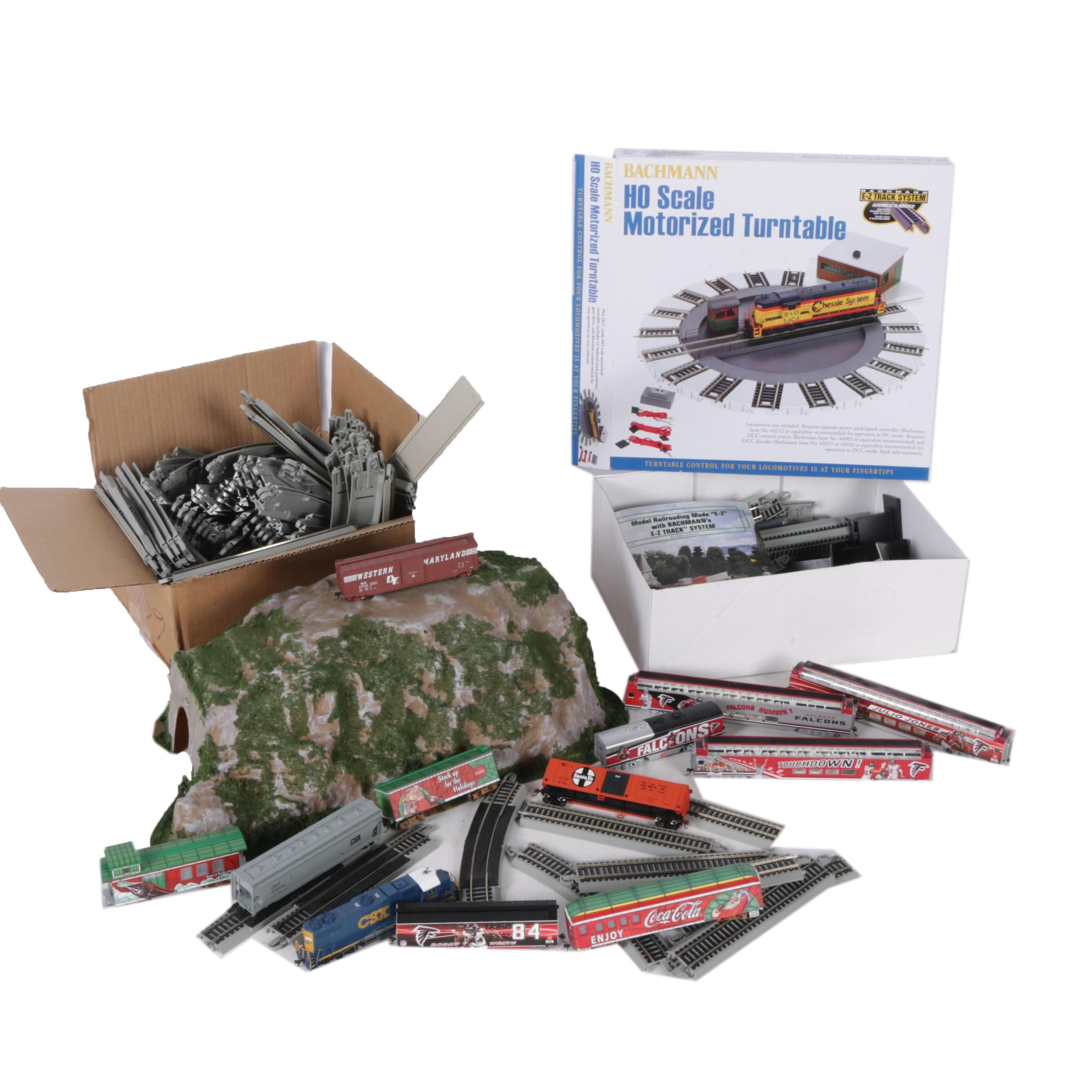 HO Scale Trains and Accessories Including Motorized Turntable and Coca-Cola Cars