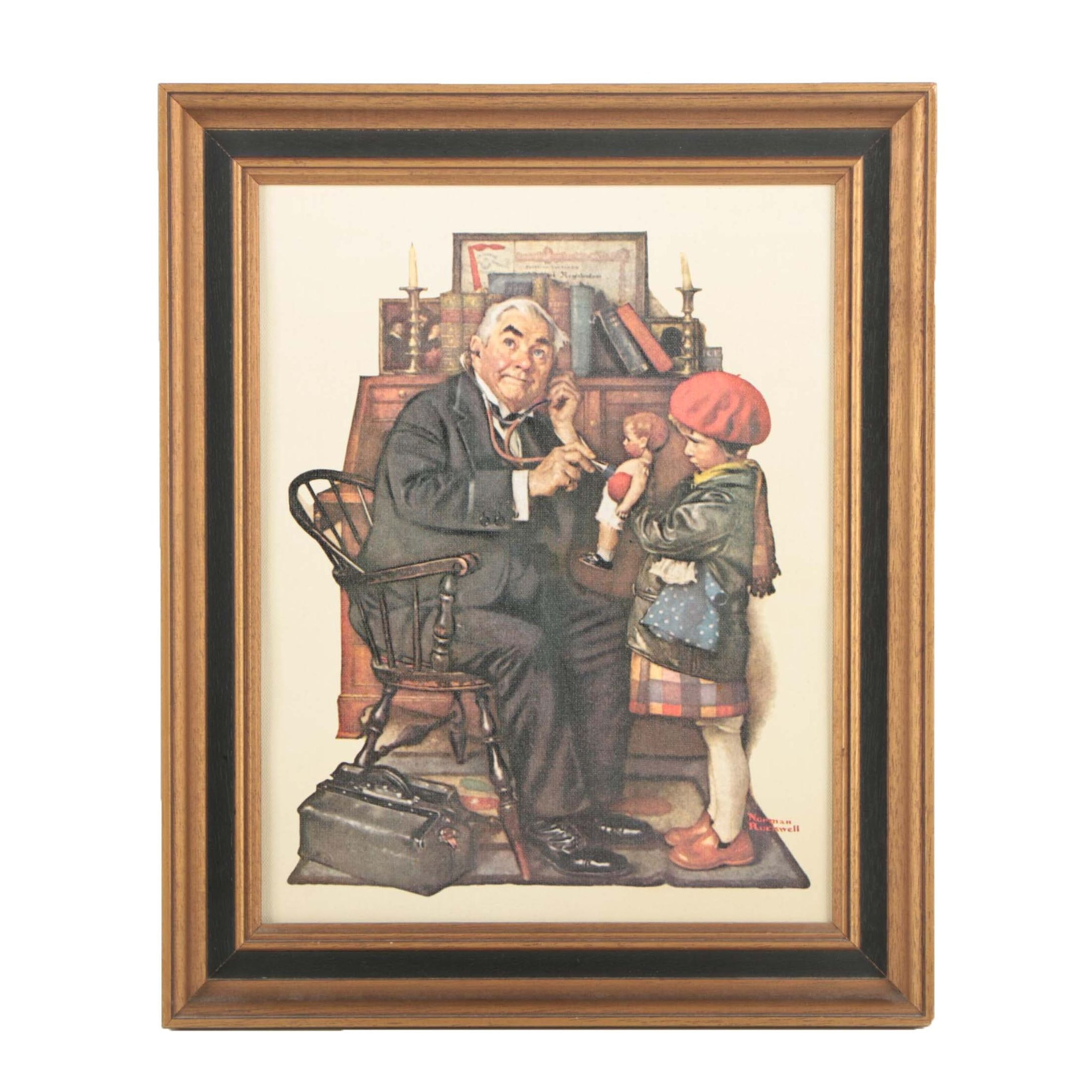 "After Norman Rockwell Offset Lithograph ""Doctor and the Doll"""