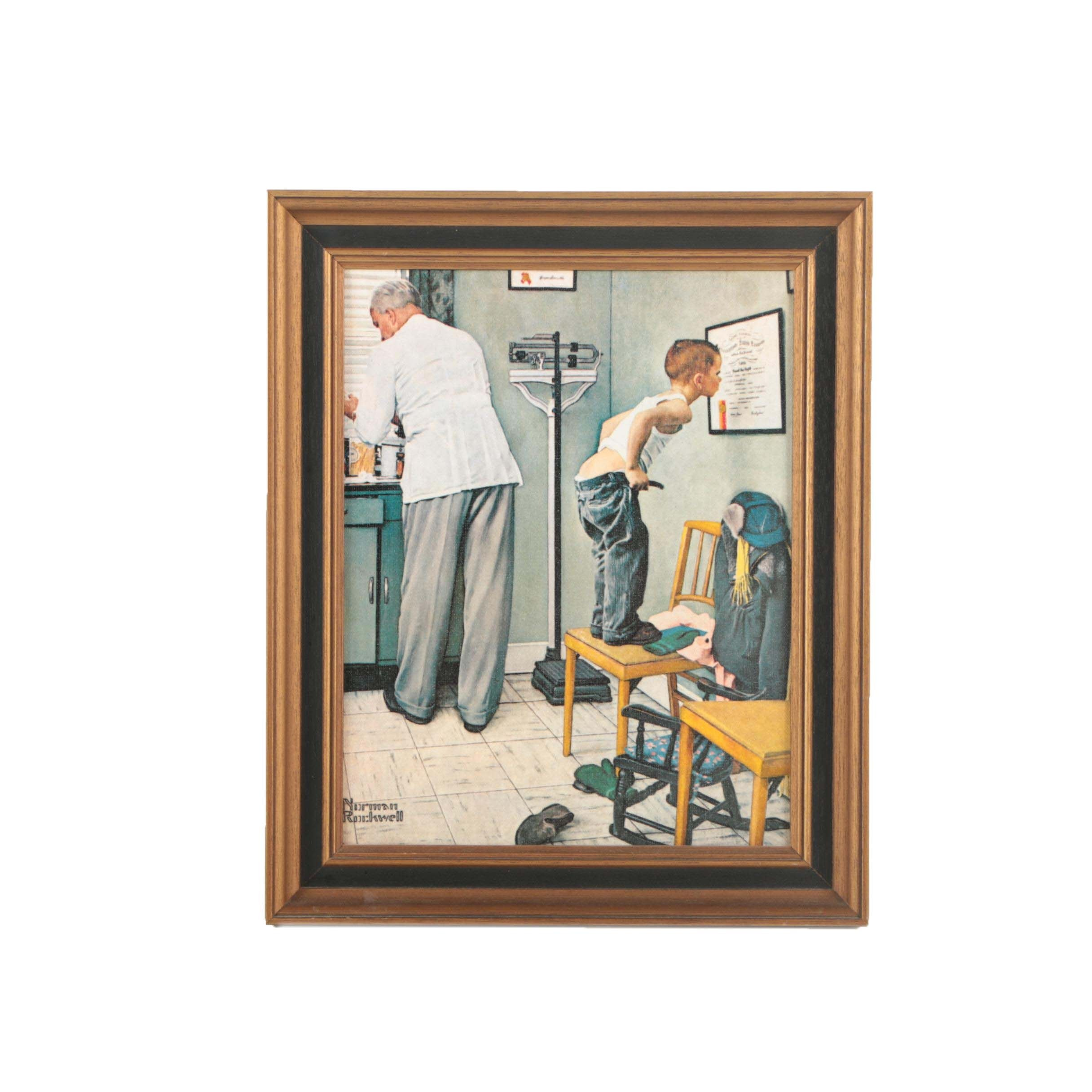 "After Norman Rockwell Offset Lithograph ""Before the Shot"""