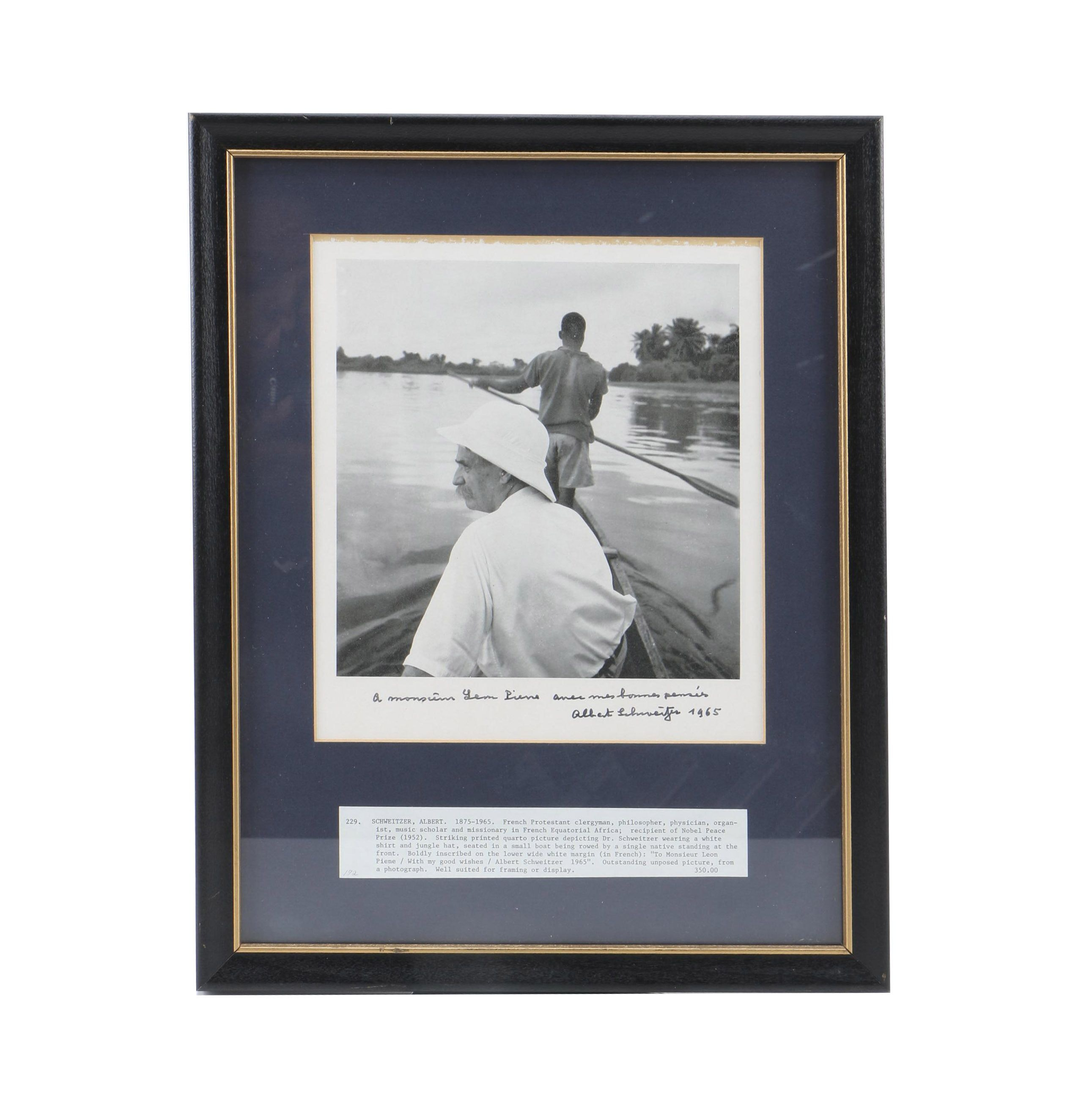 Albert Schweitzer Signed and Inscribed Photograph in Frame
