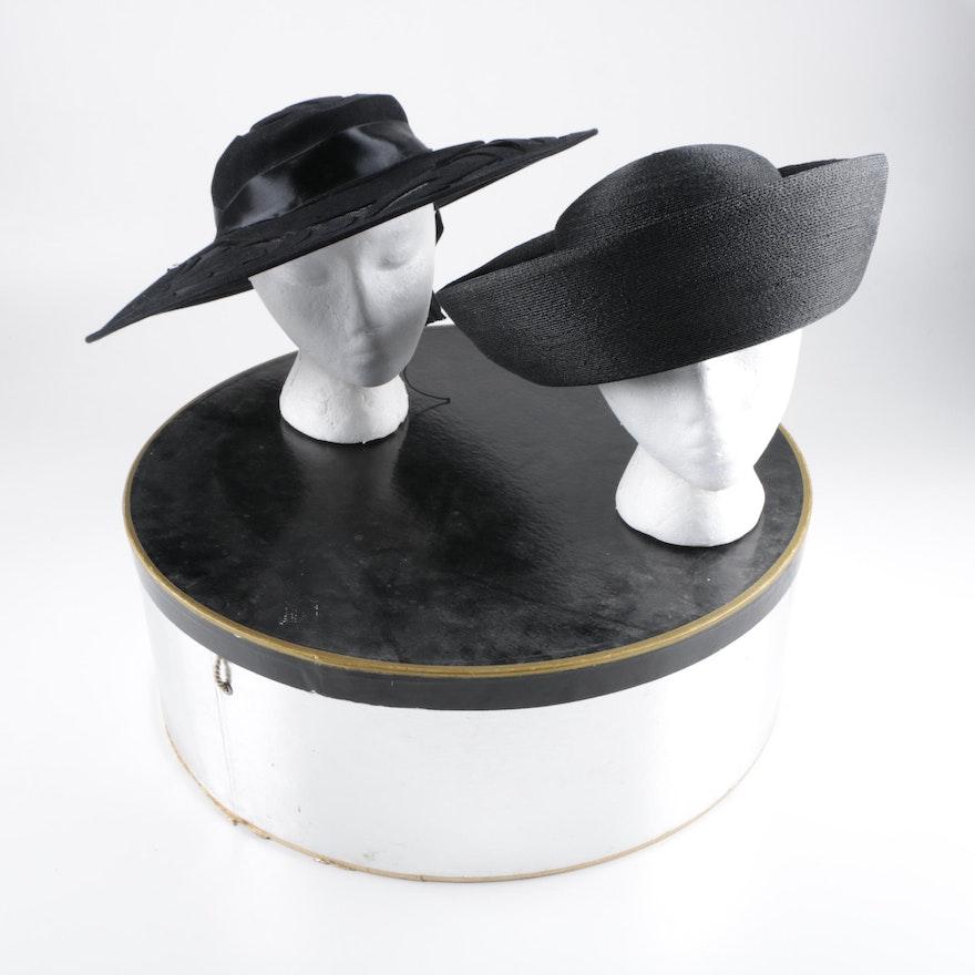 Vintage Elsa Schiaparelli of Paris and Paris Maid Black Hats   EBTH b07668e3d2f