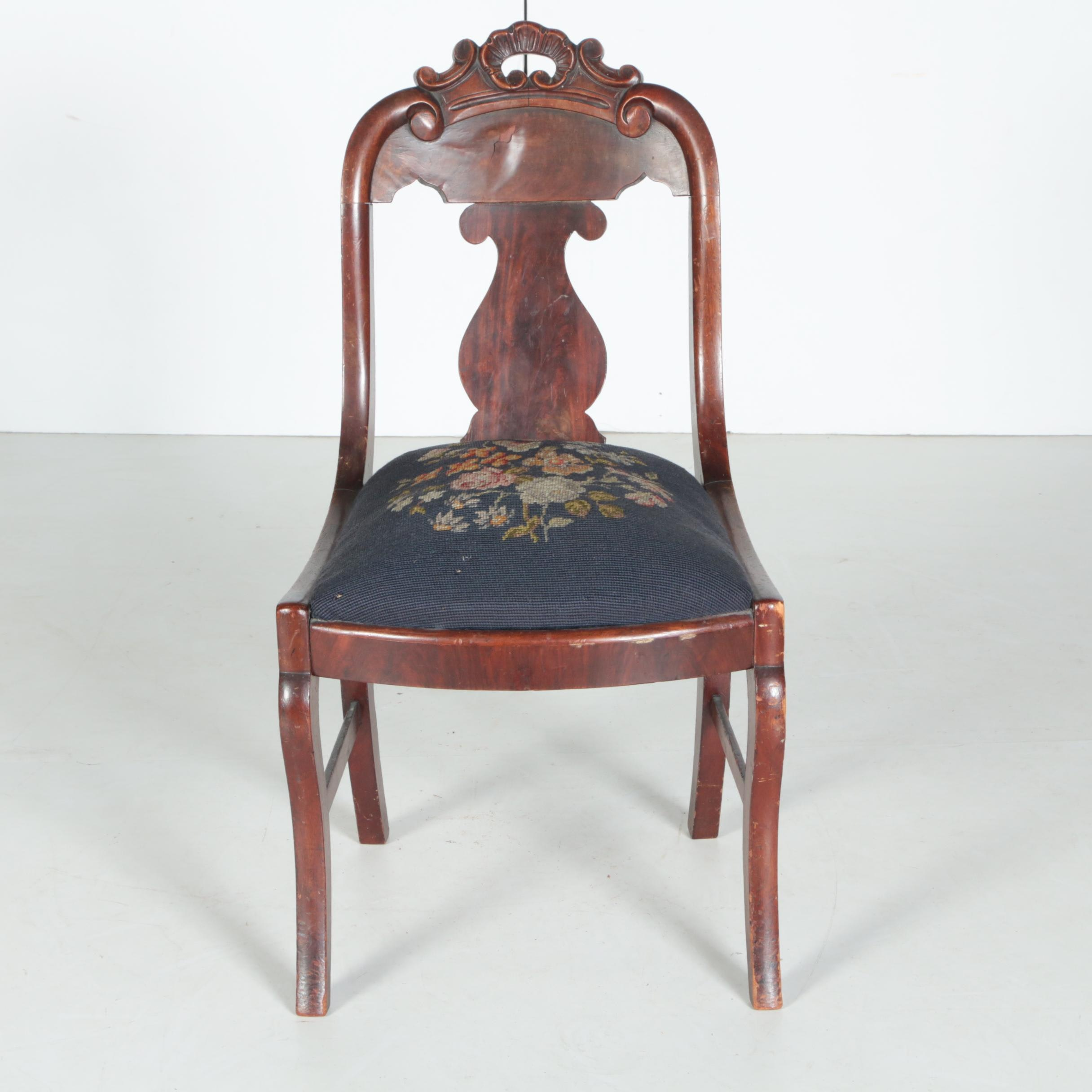 Antique Victorian Mahogany Side Chair with Needlepoint Seat