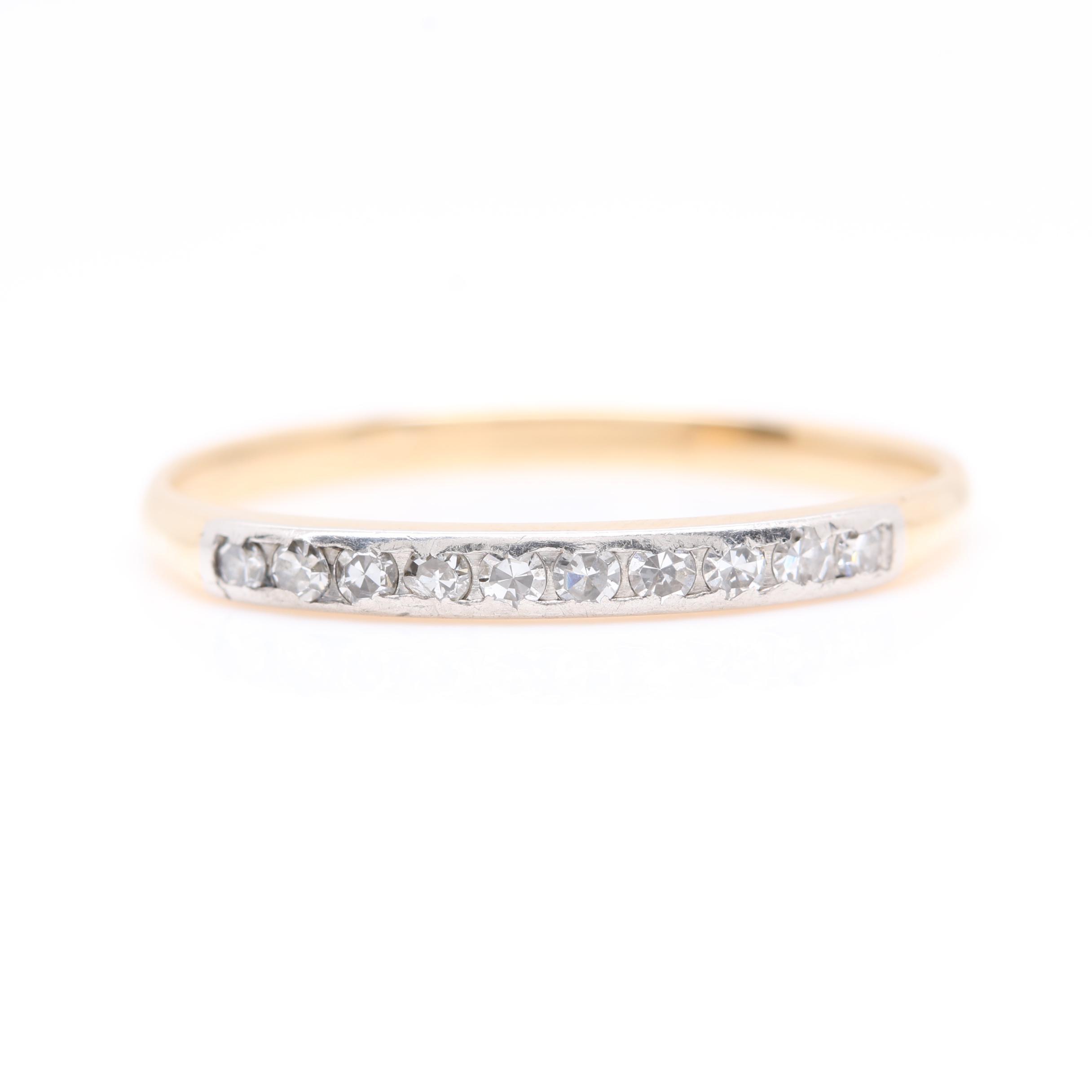 14K Yellow Gold and Platinum Diamond Ring