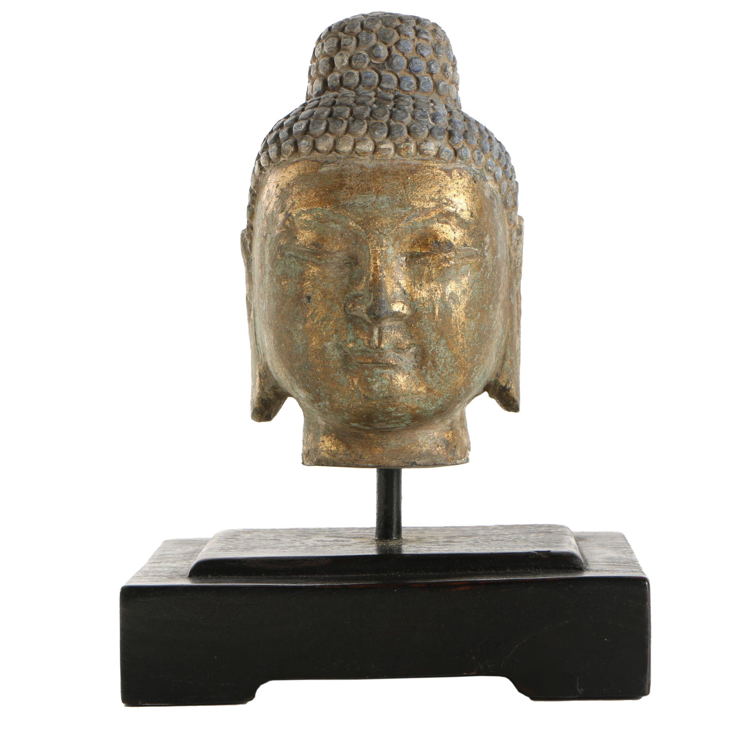 Stone Buddha Head Sculpture