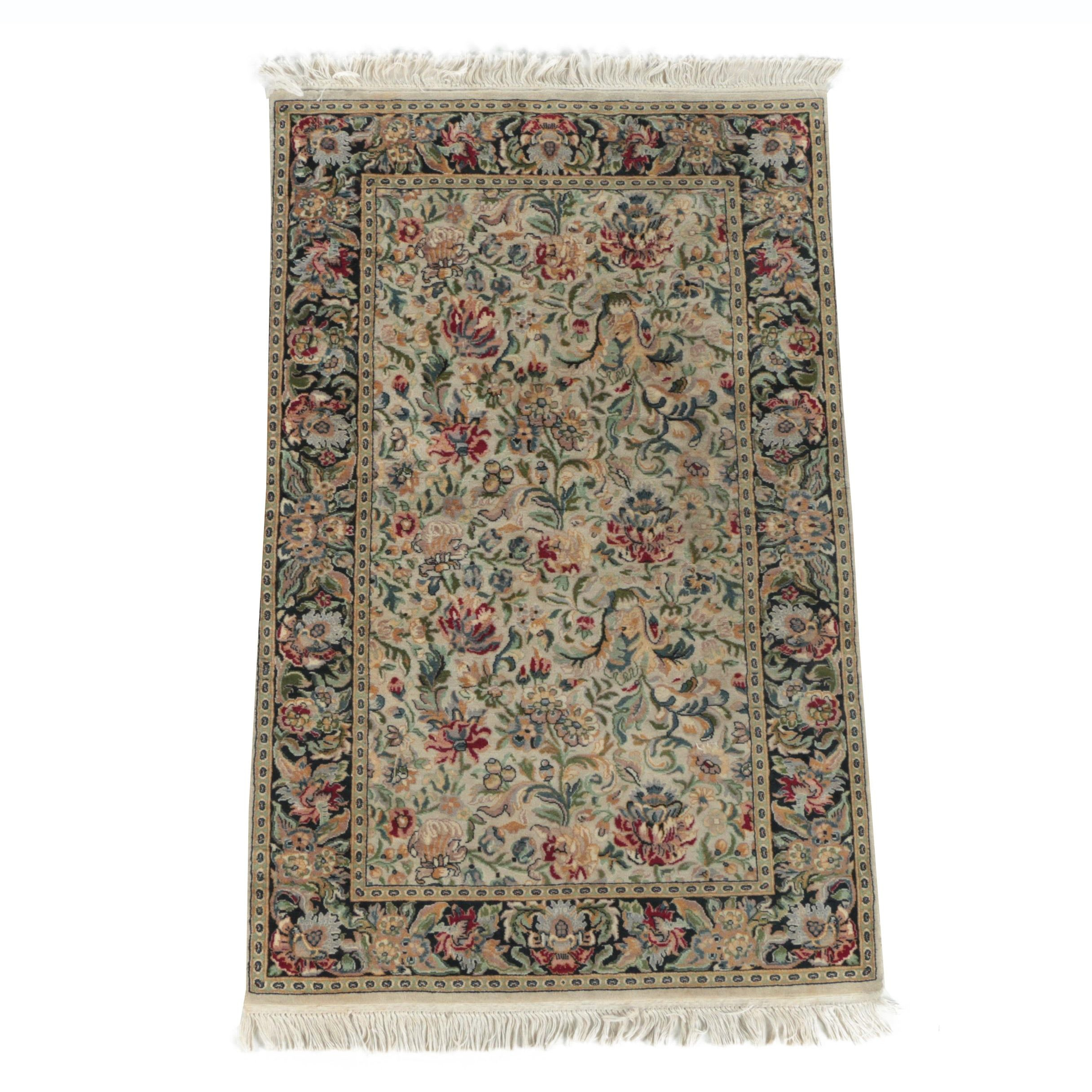 Hand-Knotted Floral Wool Accent Rug