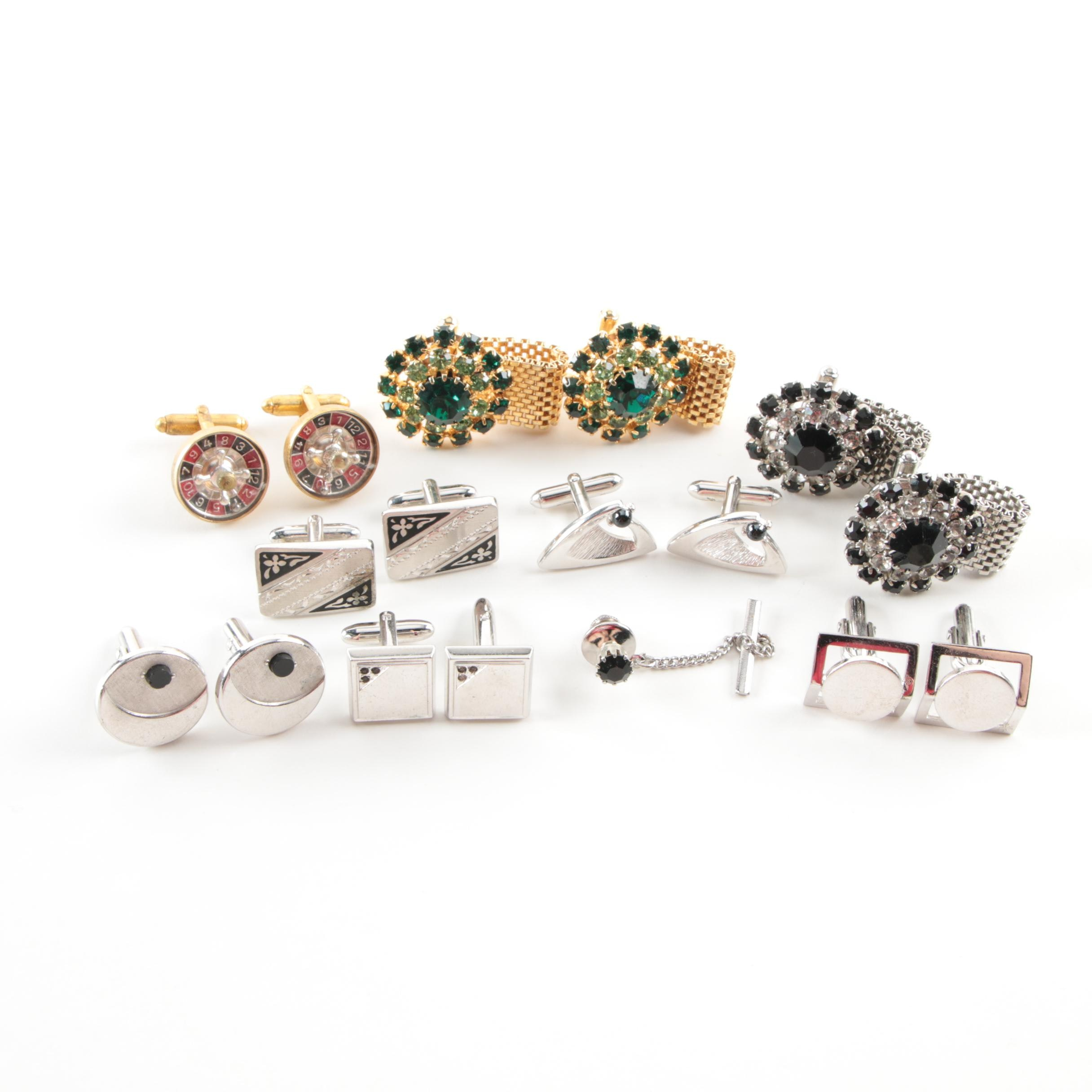 Cufflinks and Tie Tack Assortment Including Black Onyx and Enamel
