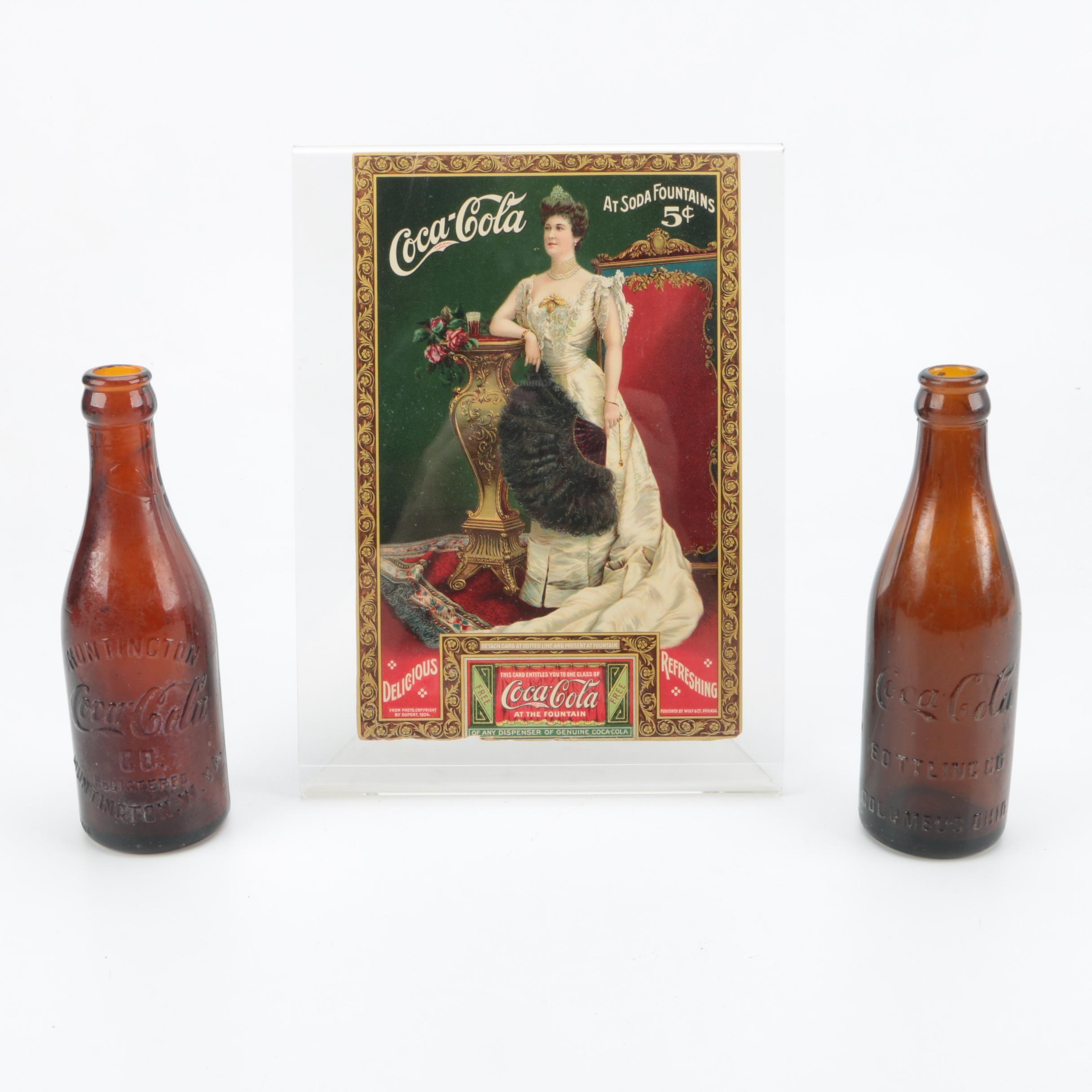 Vintage West VA. Ohio Amber Coca-Cola Bottles and 1905 Lillian Nordica Coupon