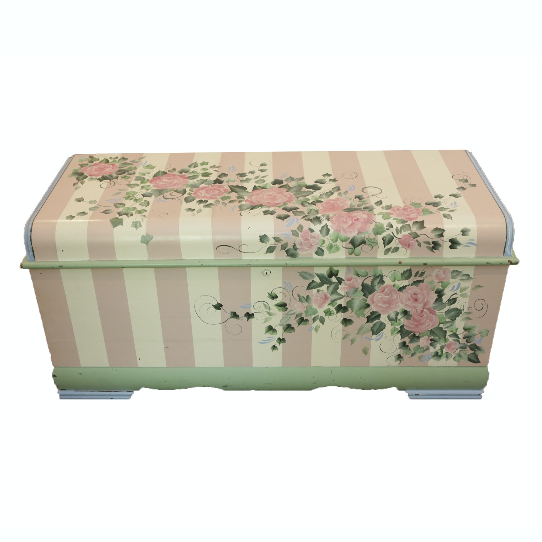 "Vintage Hand-Painted ""Aroma-Tite"" Cedar Chest by Lane"
