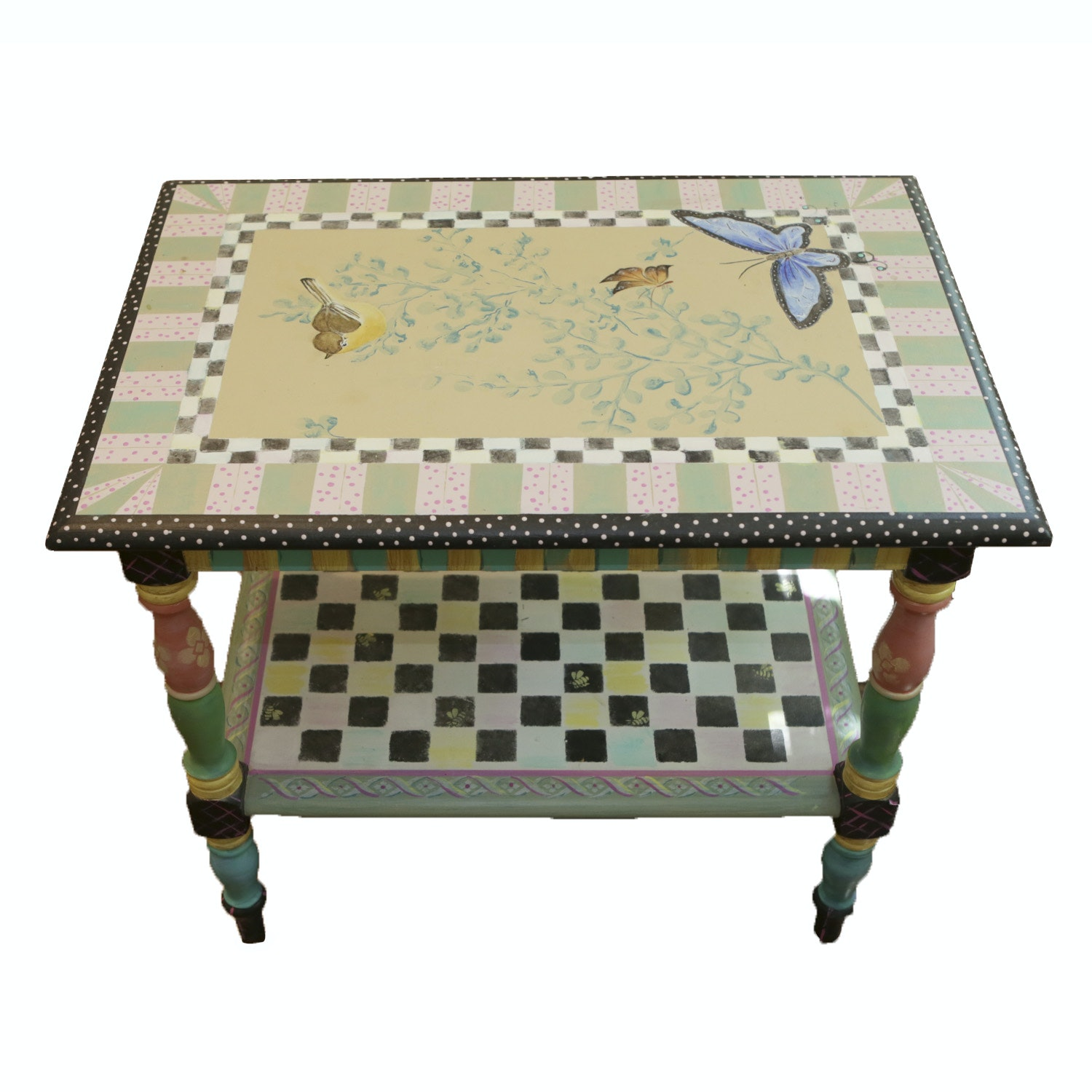 Hand-Painted in The Style of Mackenzie-Childs Wood End Table