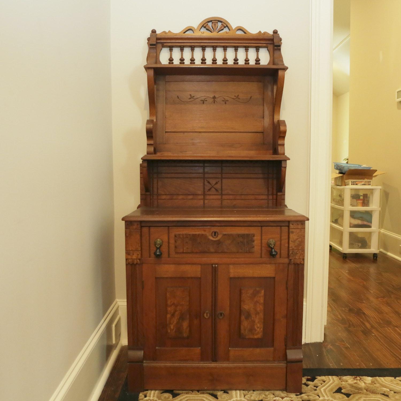 Antique Signed Eastlake Walnut Étagère Cabinet