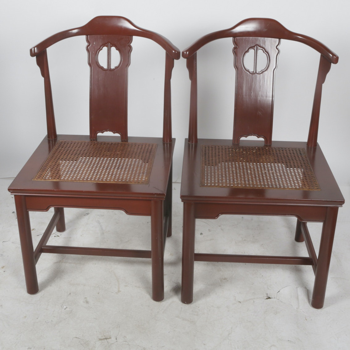 Chinese Style Yoke Back and Cane Chairs