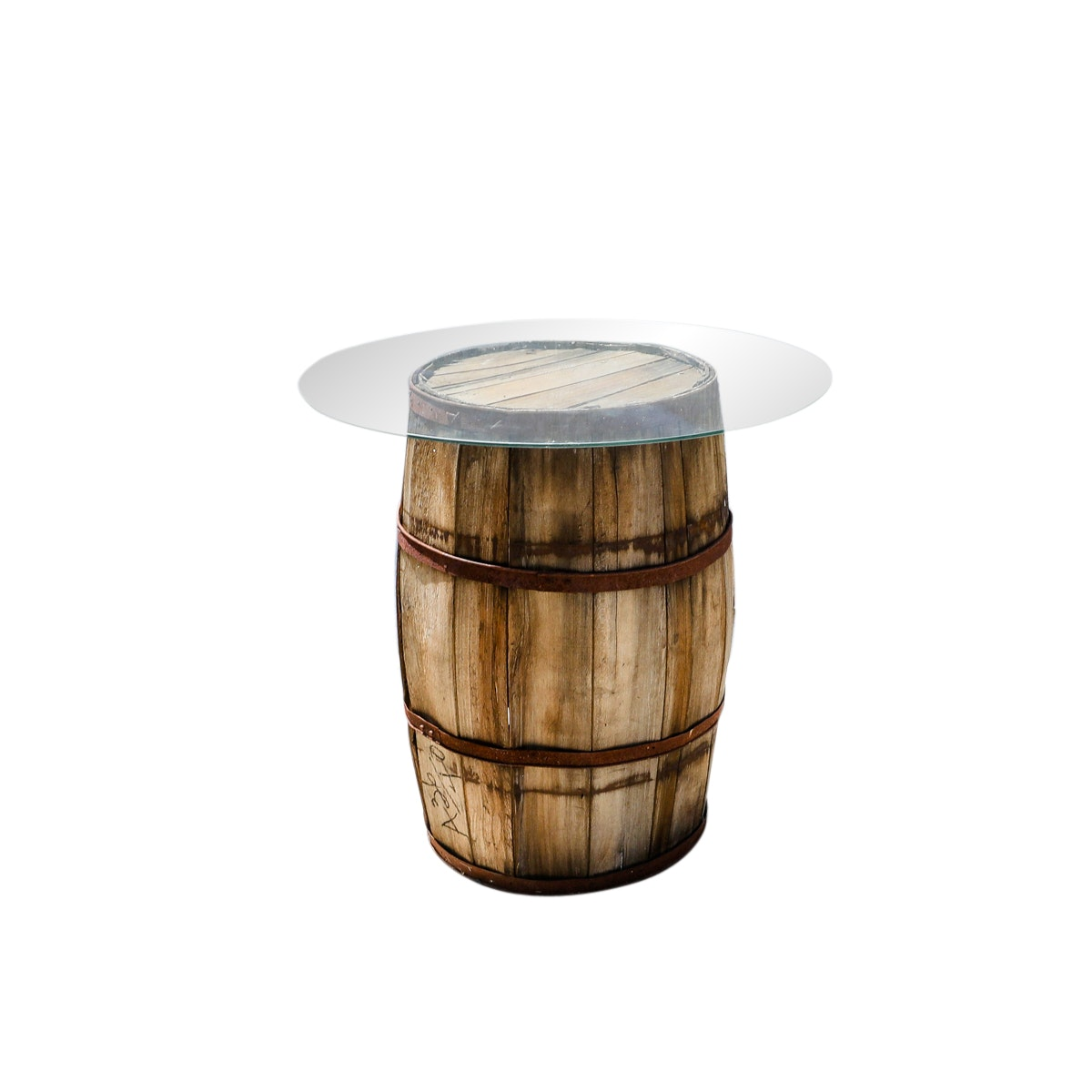 Glass Topped Whiskey Barrel Table