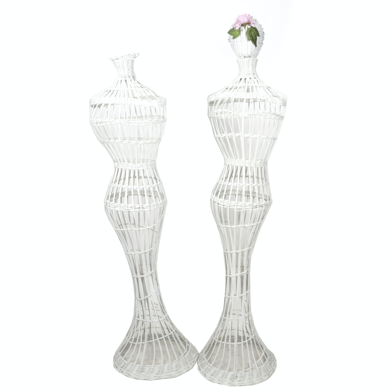Vintage Male and Female White Wicker Dress Forms