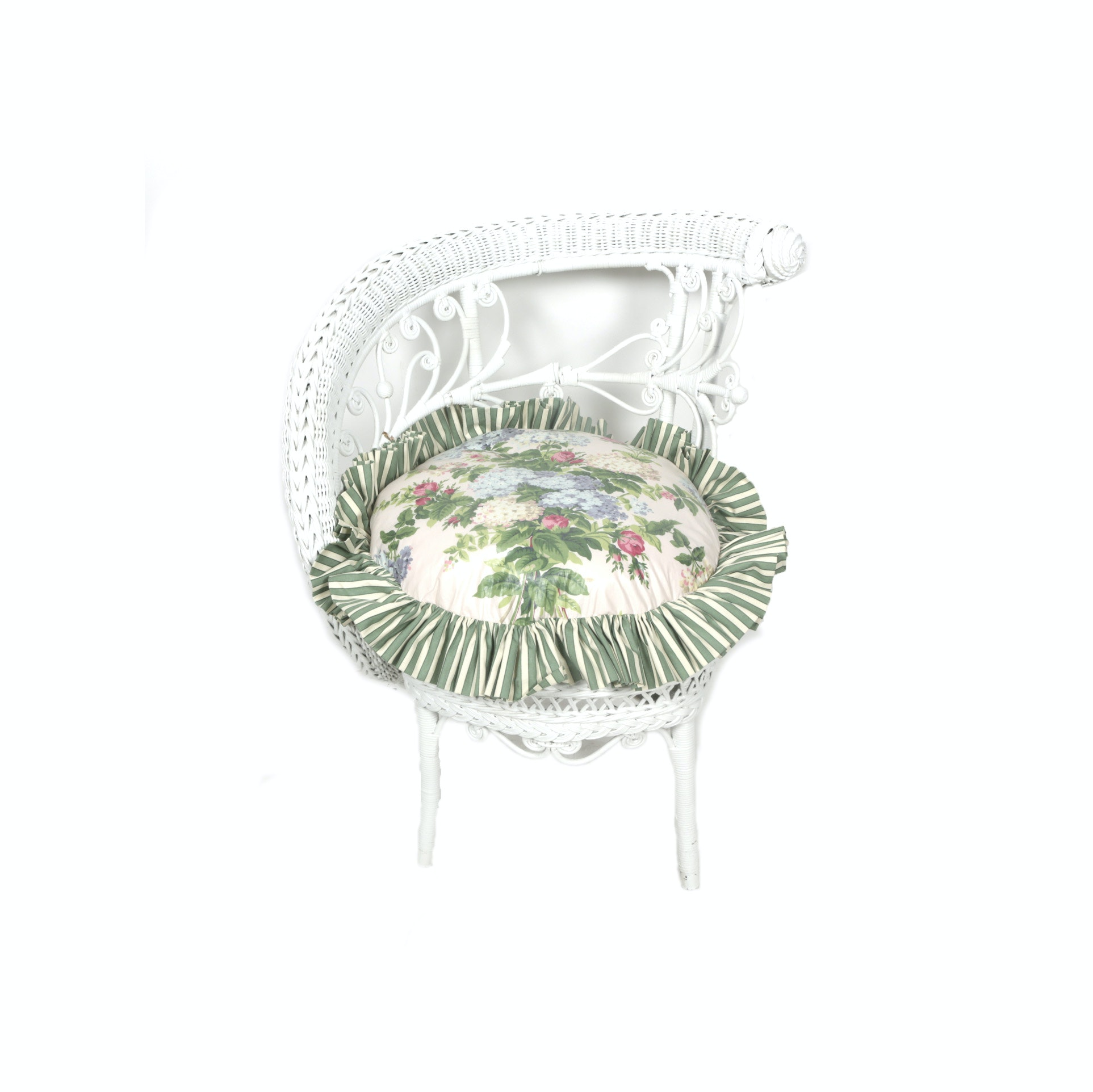 Vintage White Painted Wicker Chair with Cushion