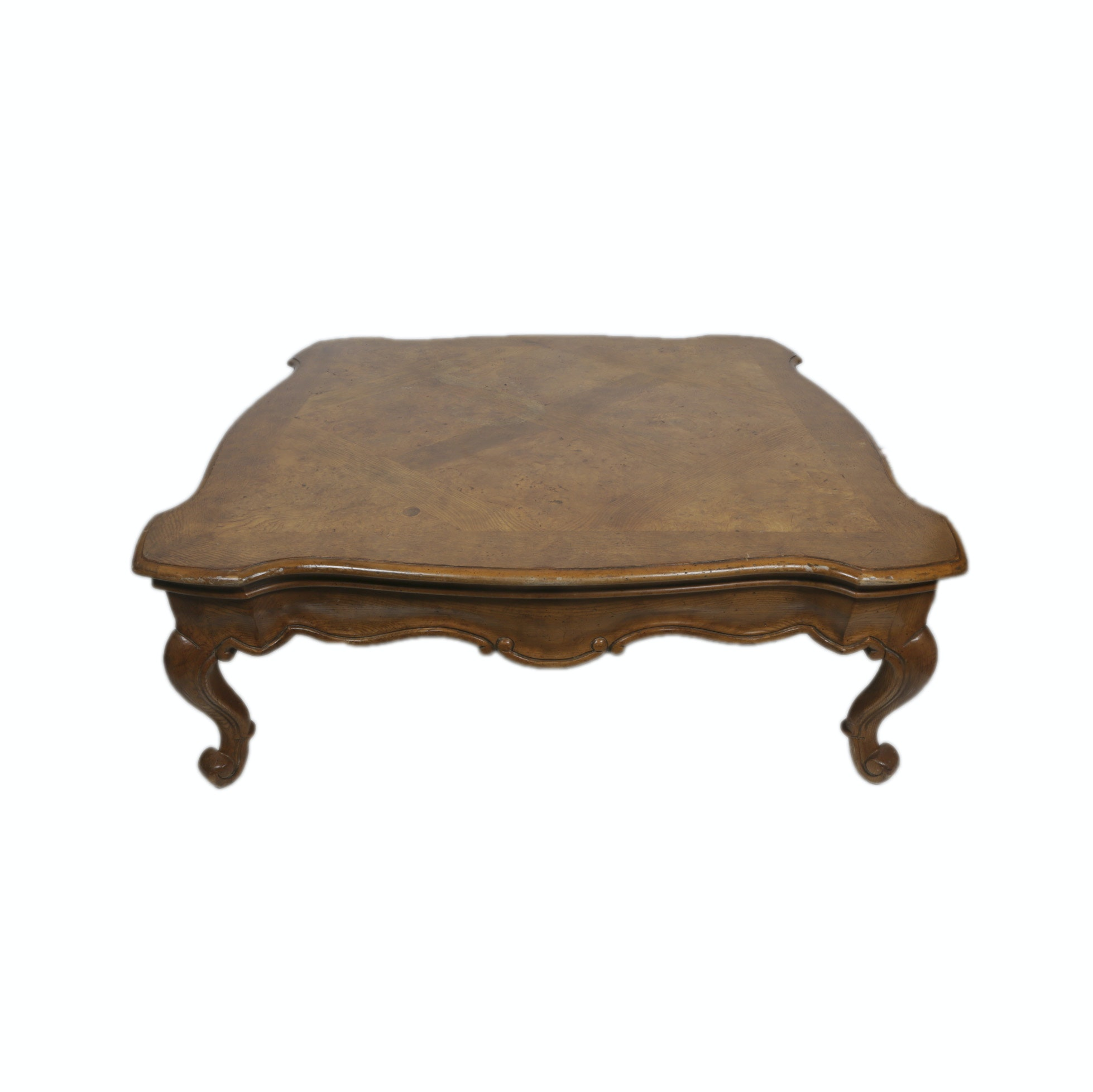 Vintage French Style Burlwood and Oak Parquetry Coffee Table