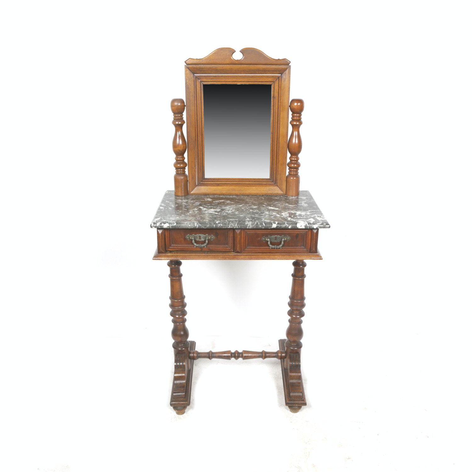 Vintage Victorian Style Marble Top Walnut Vanity Table with Tilting Mirror