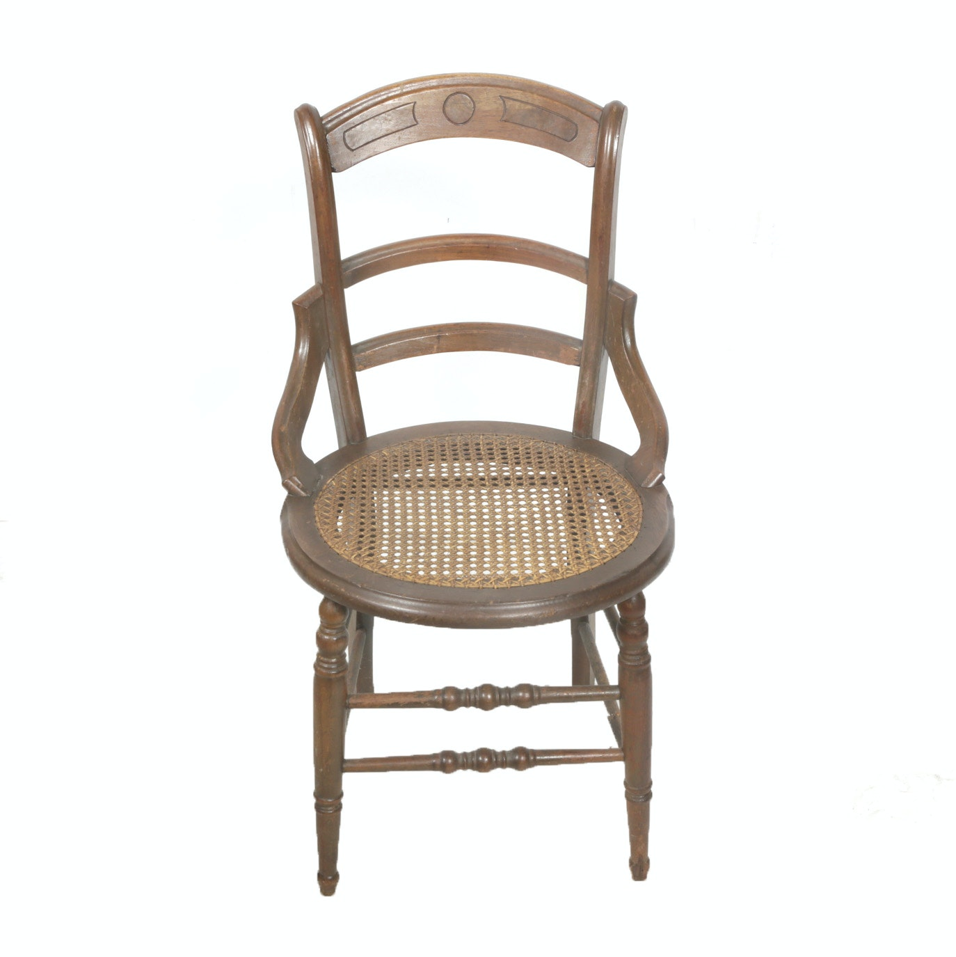 Vintage Walnut and Cane Seat Chair