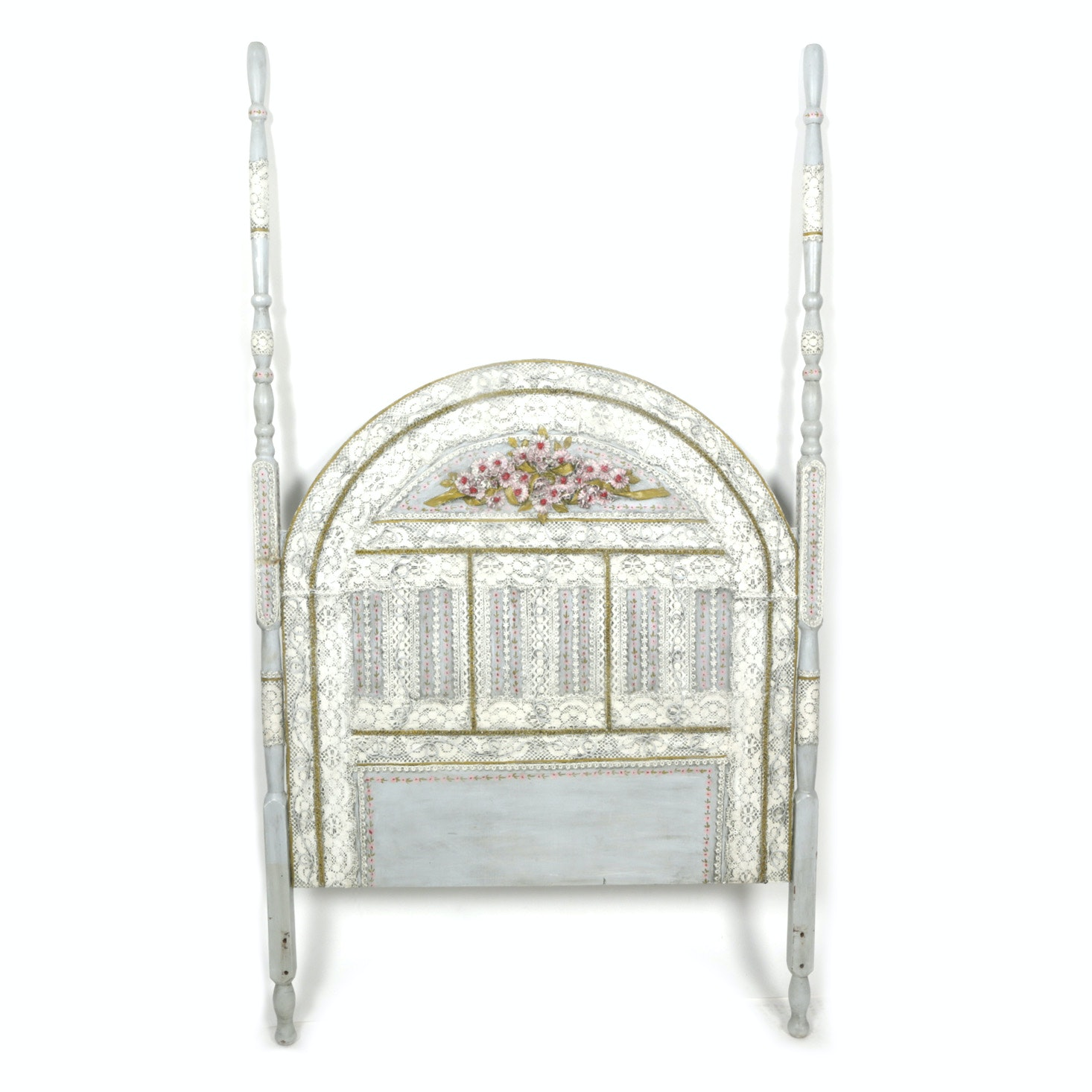 Vintage Painted Lace Applique Twin Headboard