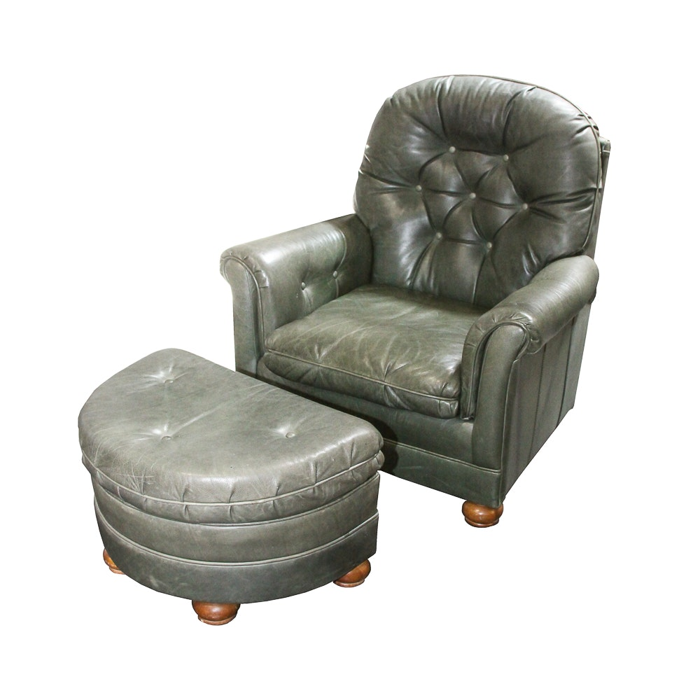 Vintage Green Leather Armchair And Ottoman By Bradington Young ...