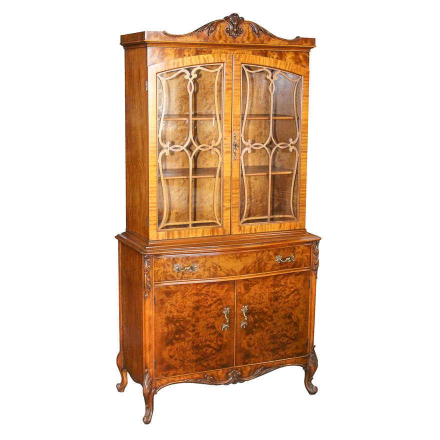 Vintage Louis XV Style Burl Wood China Cabinet By Rockford