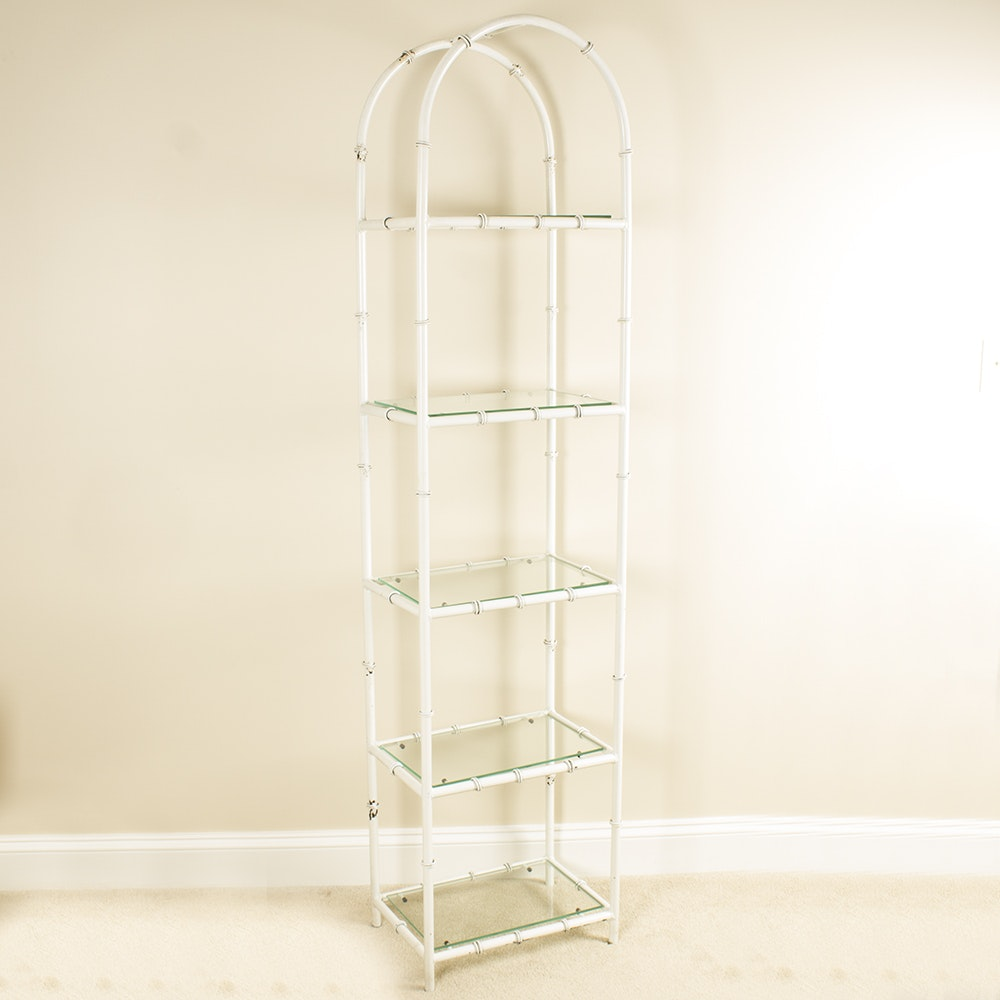 White Painted Faux Bamboo Metal and Glass Étagère