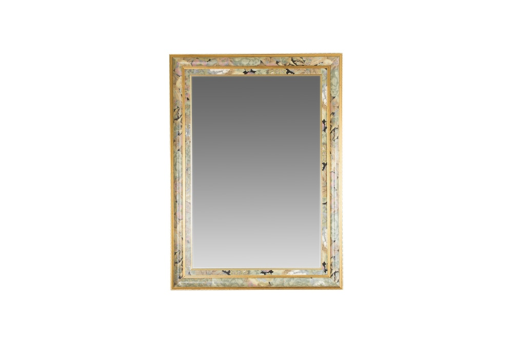 Wood Framed Wall Mirror with Floral Motif