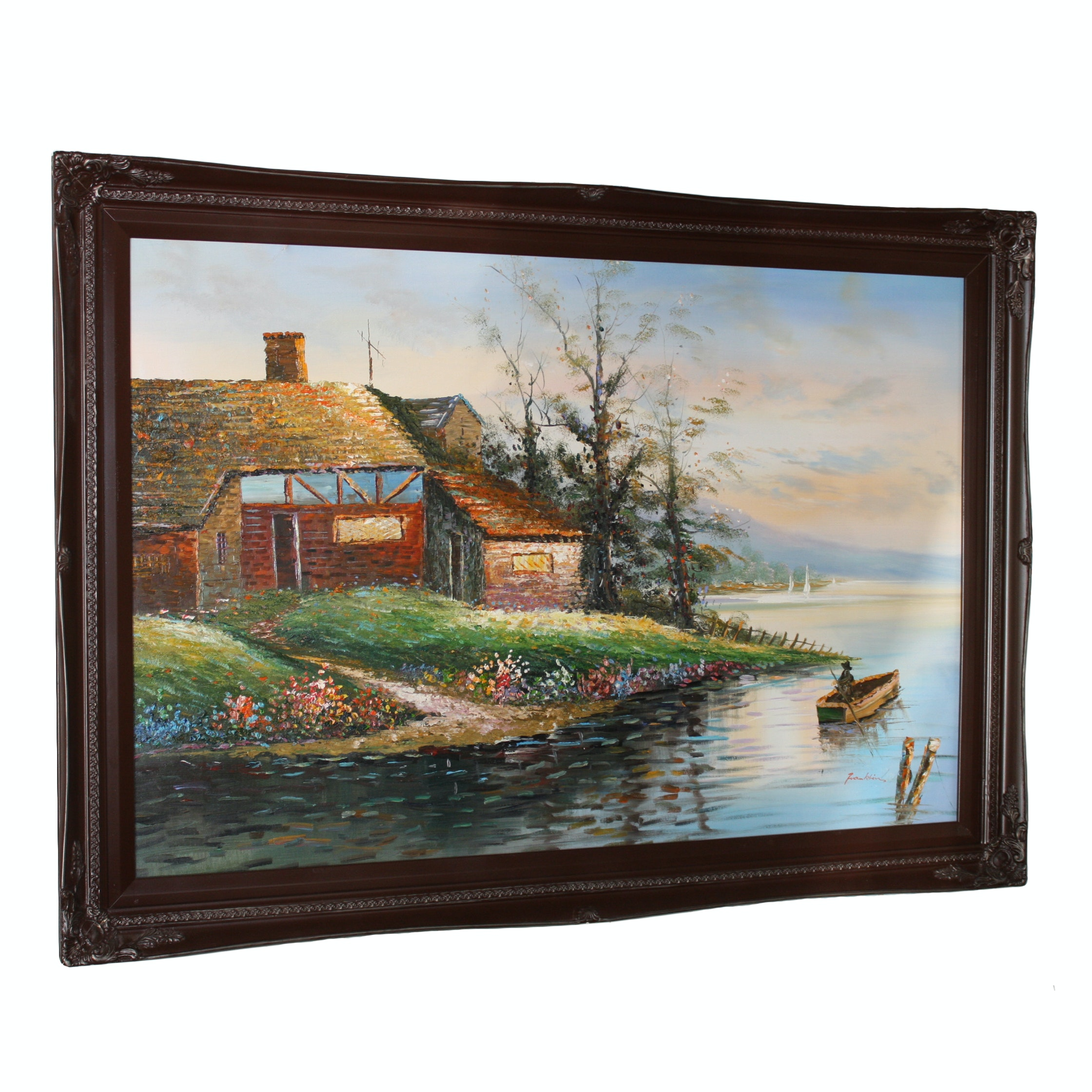 Oil Painting of Lakeside Home