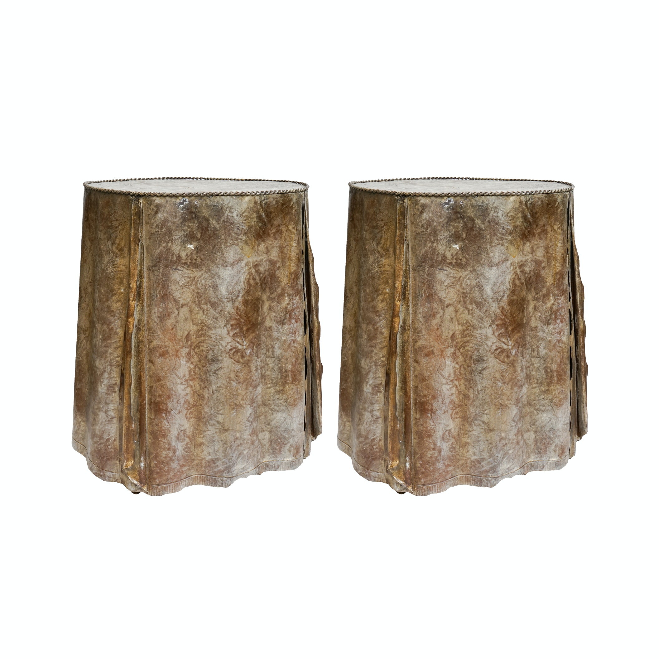 """Metal """"Skirt"""" Accent Tables"""