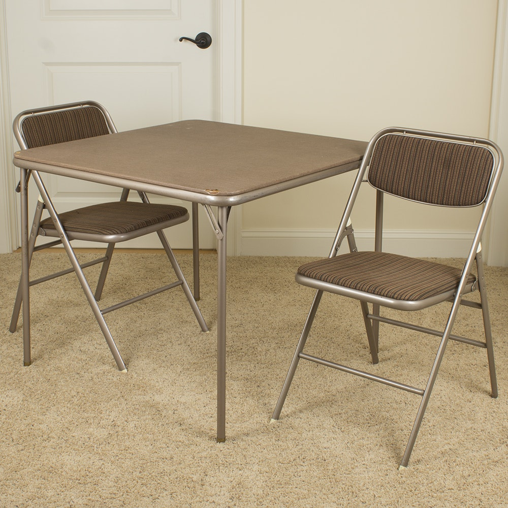 Vintage Folding Game Table and Chair Set by Samsonite