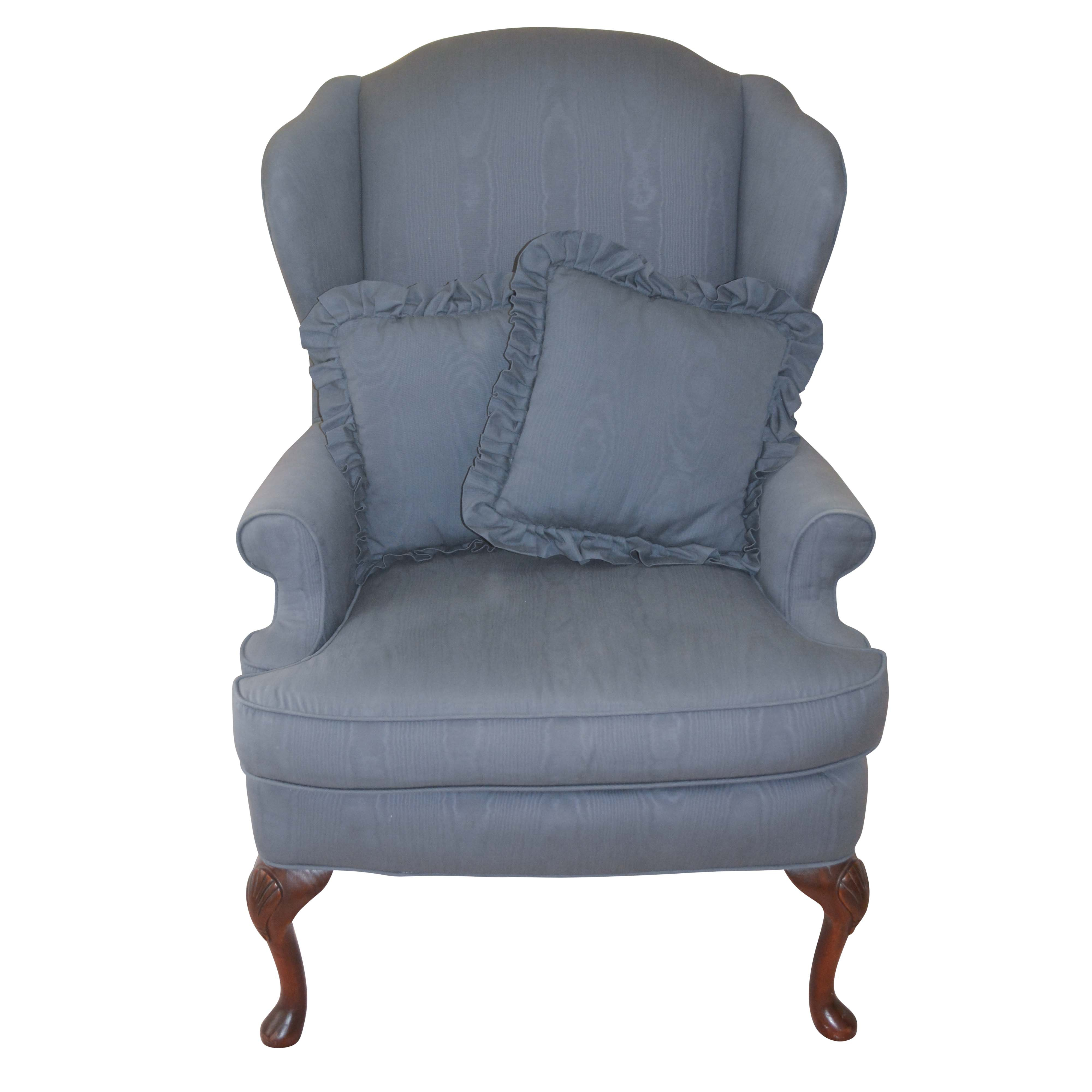 Vintage Queen Anne Style Blue Upholstered Wingback Chair by LT Designs