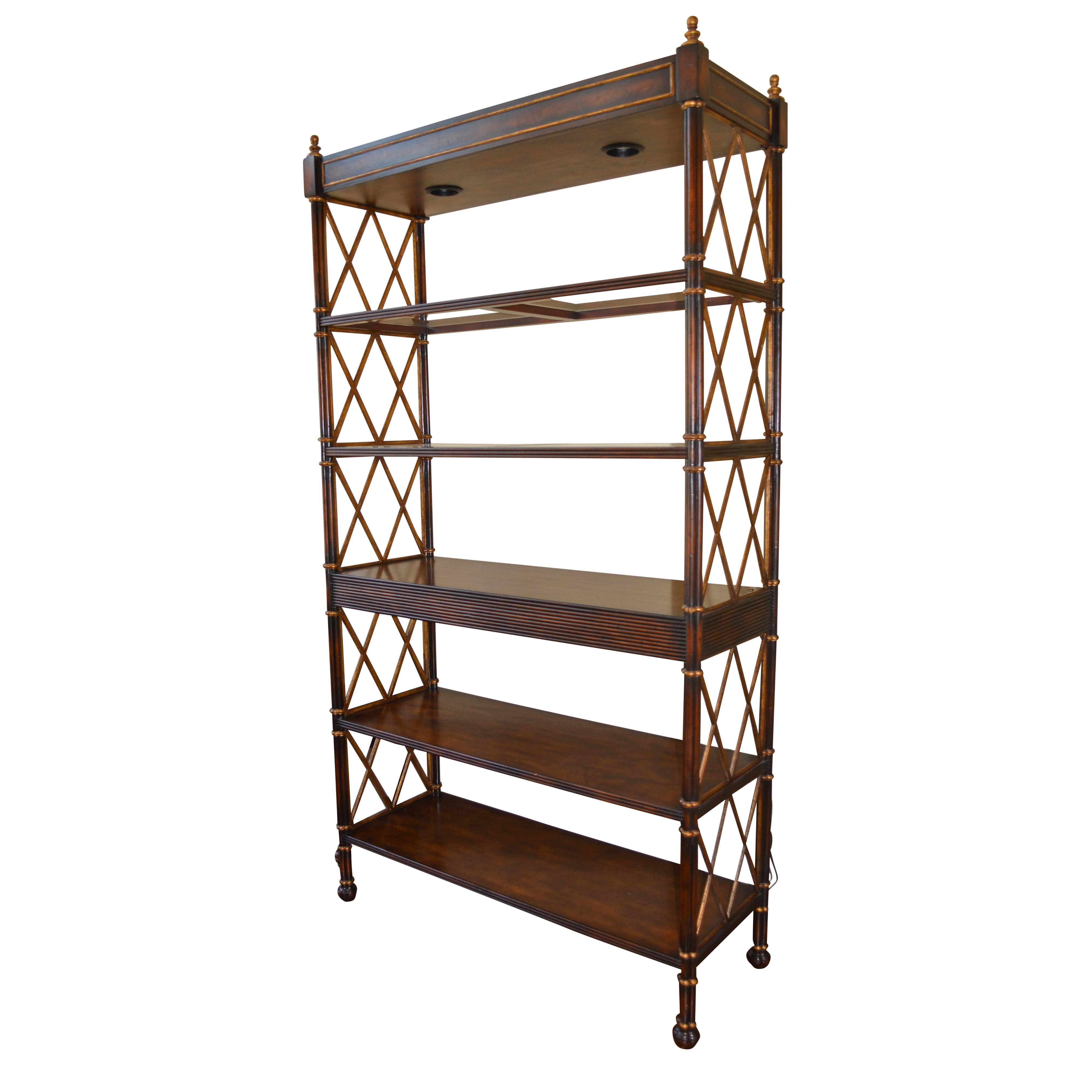 Vintage Regency Style Five Shelf Bookcase