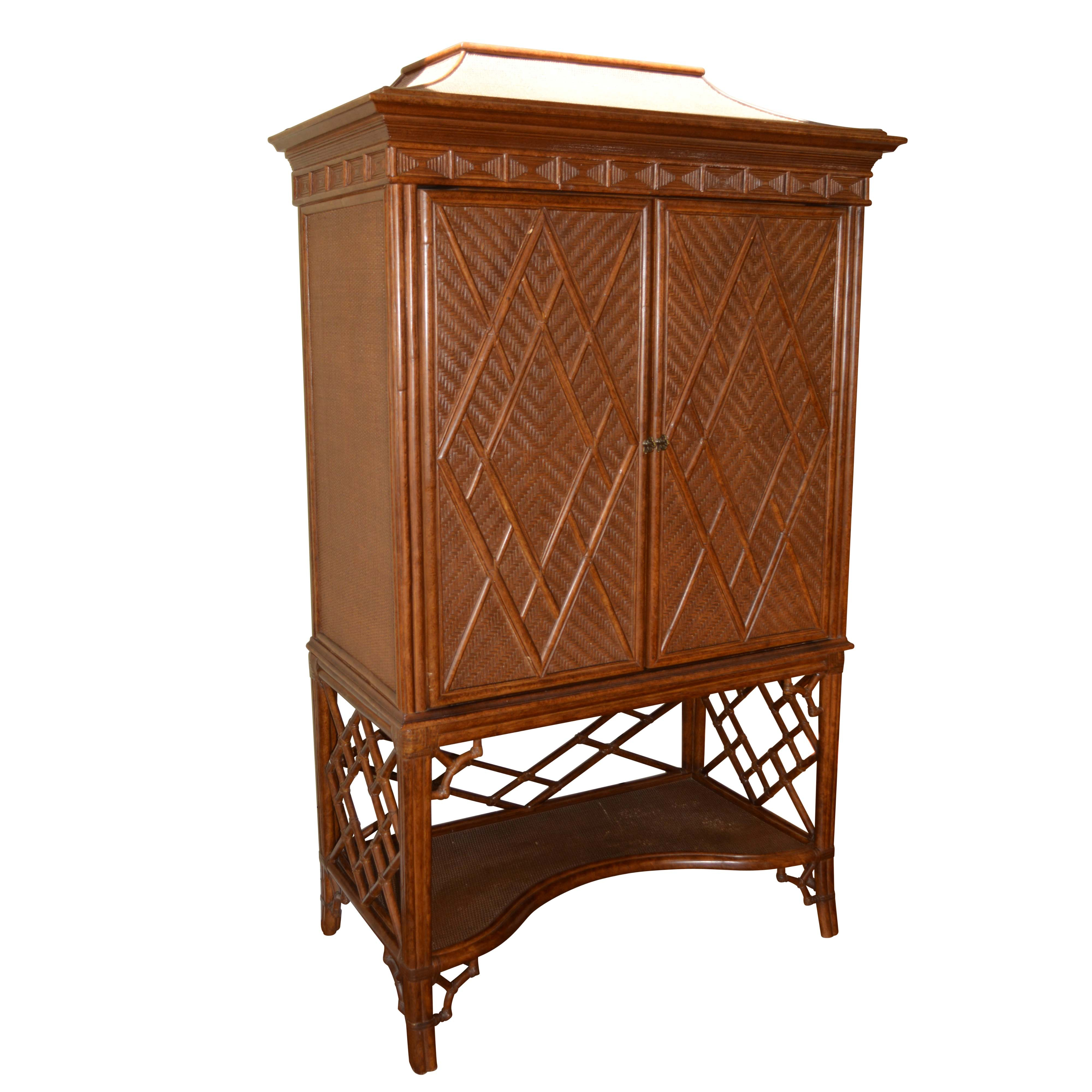 Vintage Asian-Inspired Rattan Entertainment Cabinet