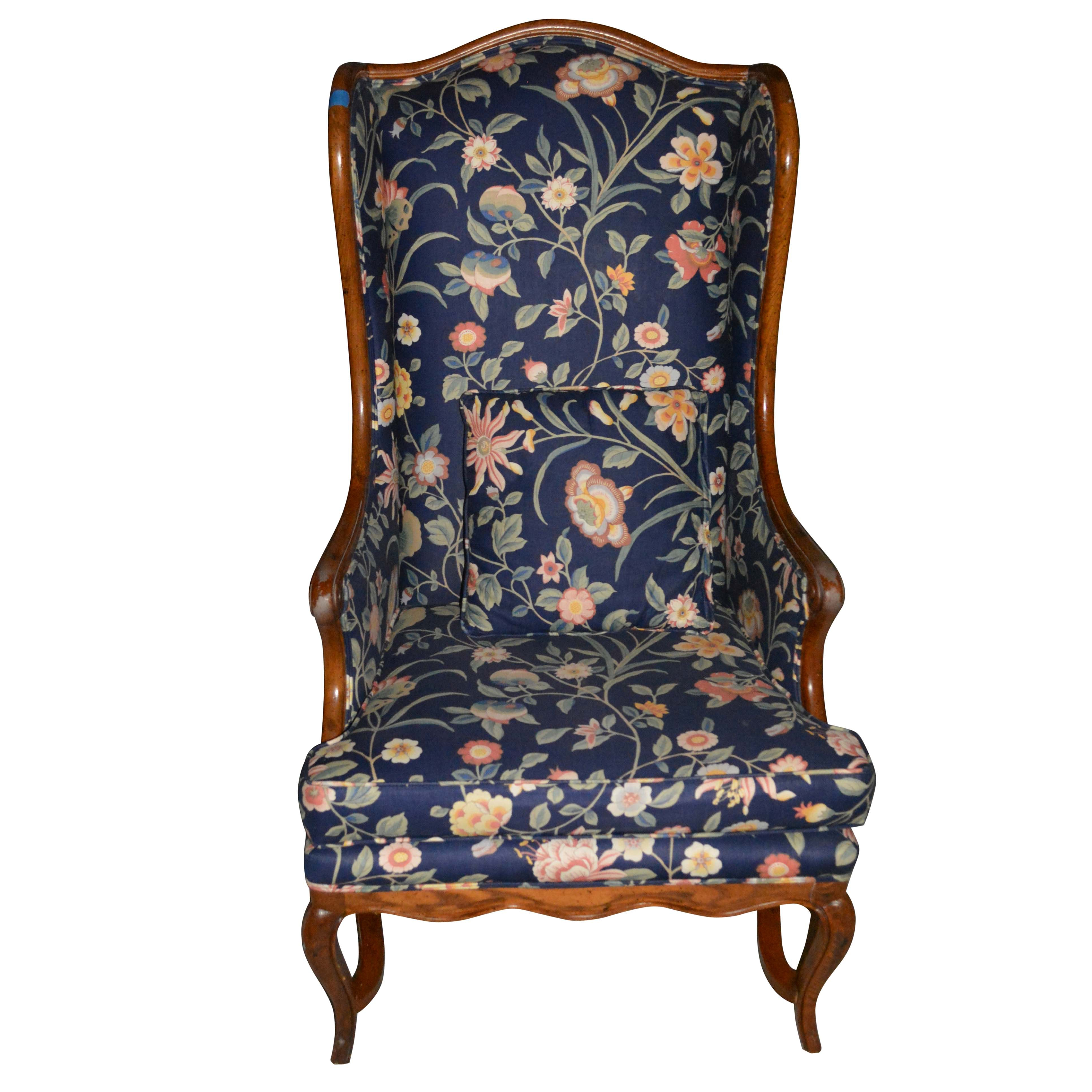 Vintage French Provincial Style Floral Upholstered Wingback Chair by Honeycutt's