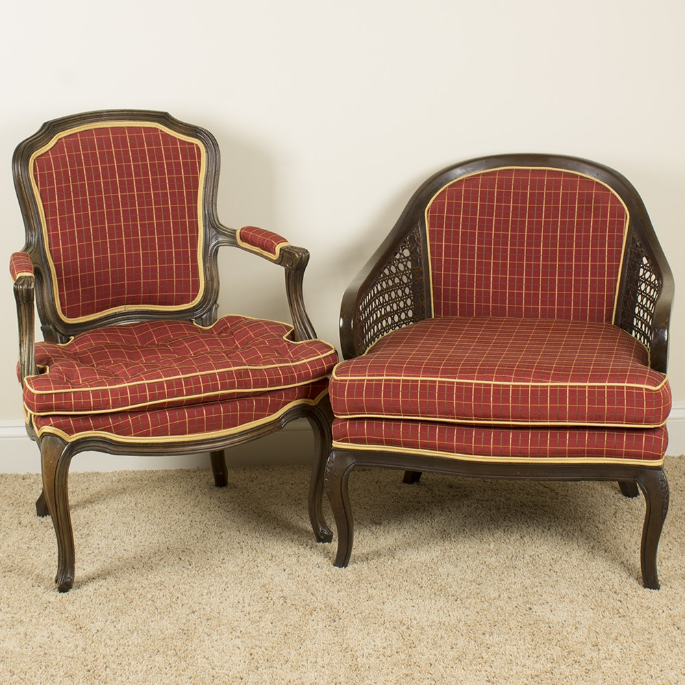 Vintage French Provincial Style Upholstered Chairs by H.I.S. Upholstery