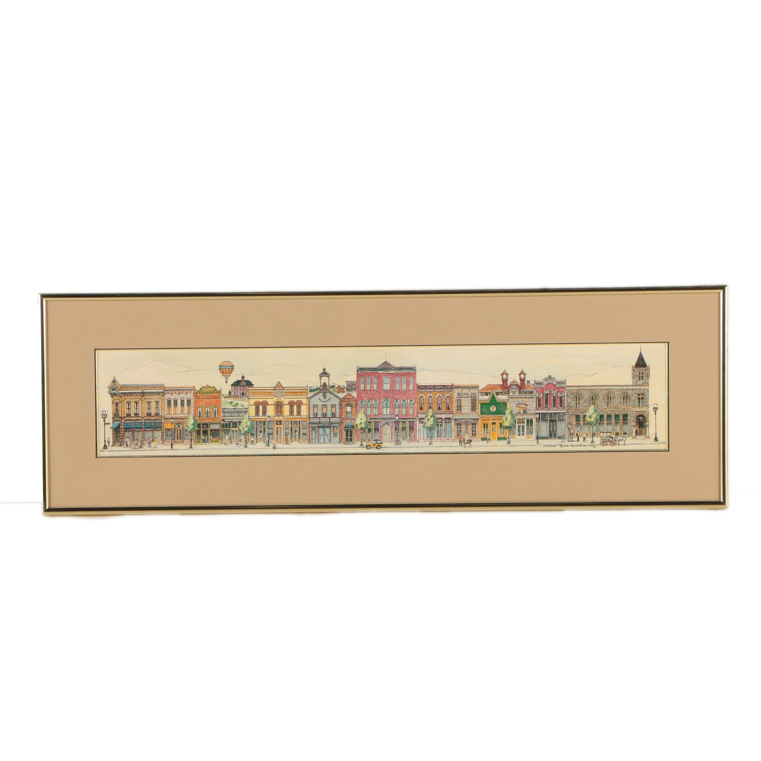 """Bob Holloway Limited Edition Offset Lithograph """"Colorado Street"""""""