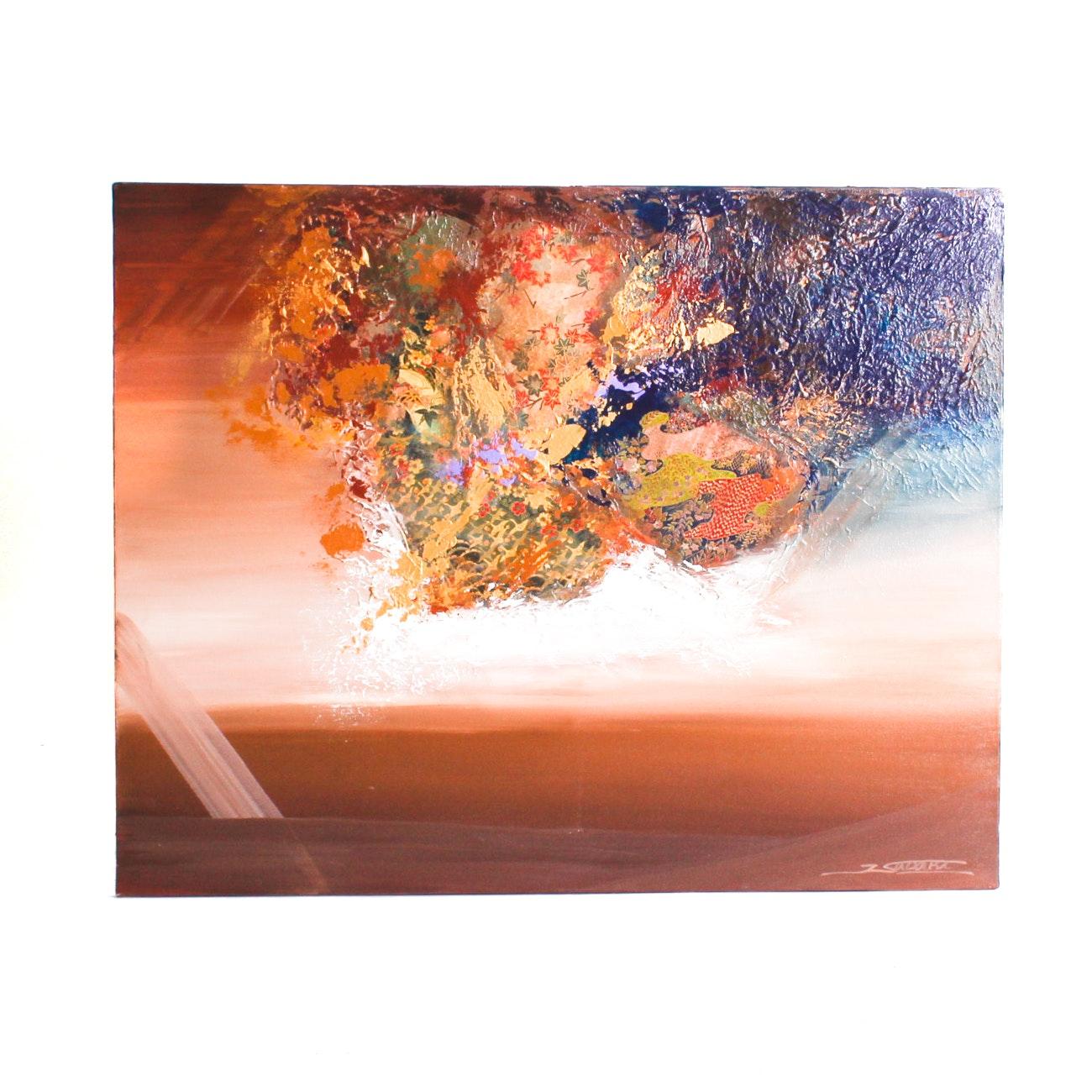 Original Mixed Media on Canvas Abstract Collage by J. Sadaki